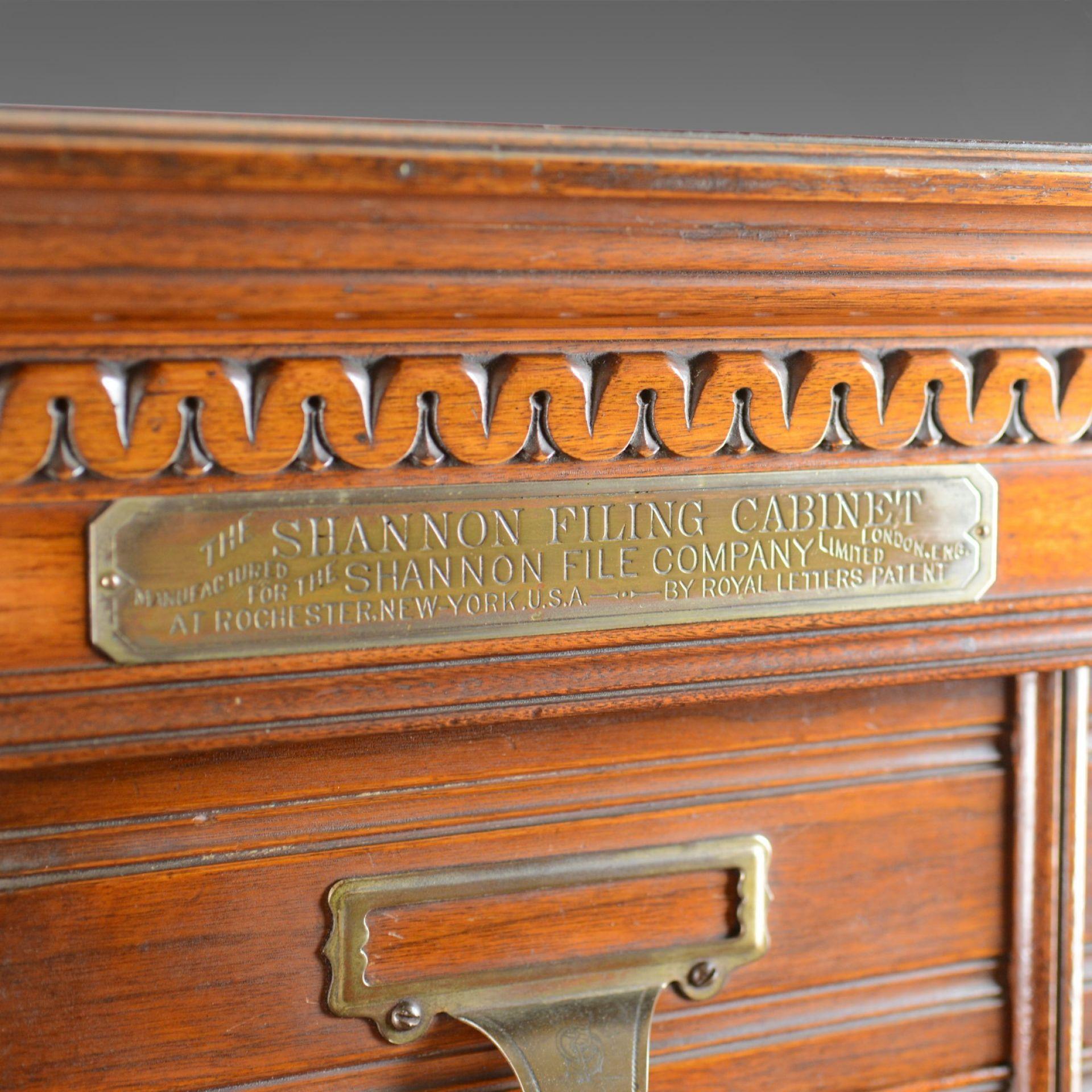 Large Antique Filing Cabinet, English, Edwardian, Walnut, Shannon File Co. c1910