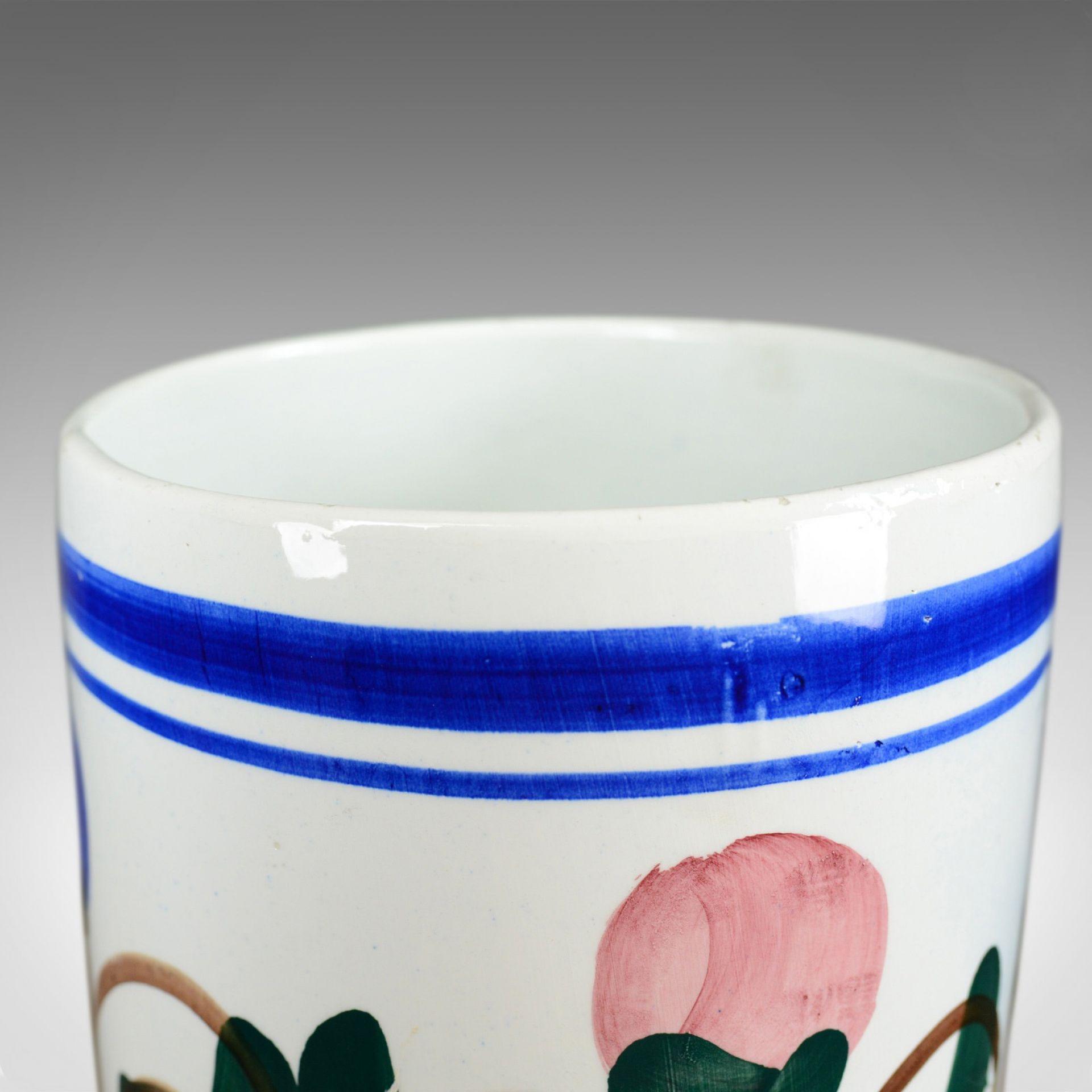 Mid 20th Century Vintage Umbrella Stand, Deep, Floral, Ceramic Stick Pot