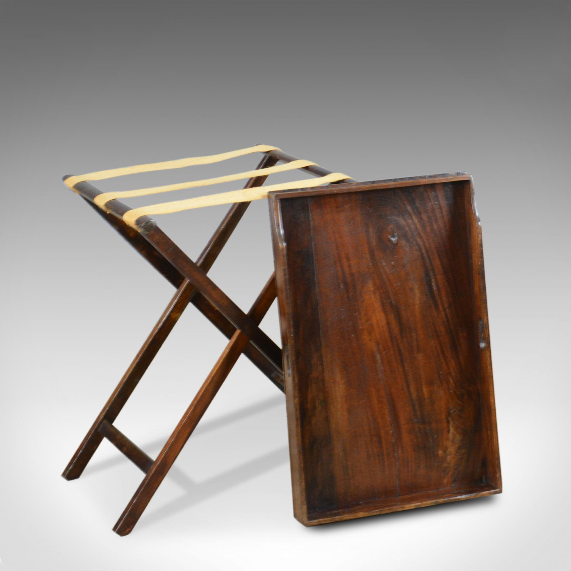 Antique Butler's Tray Table, Victorian, Mahogany, Folding Stand, Circa 1900