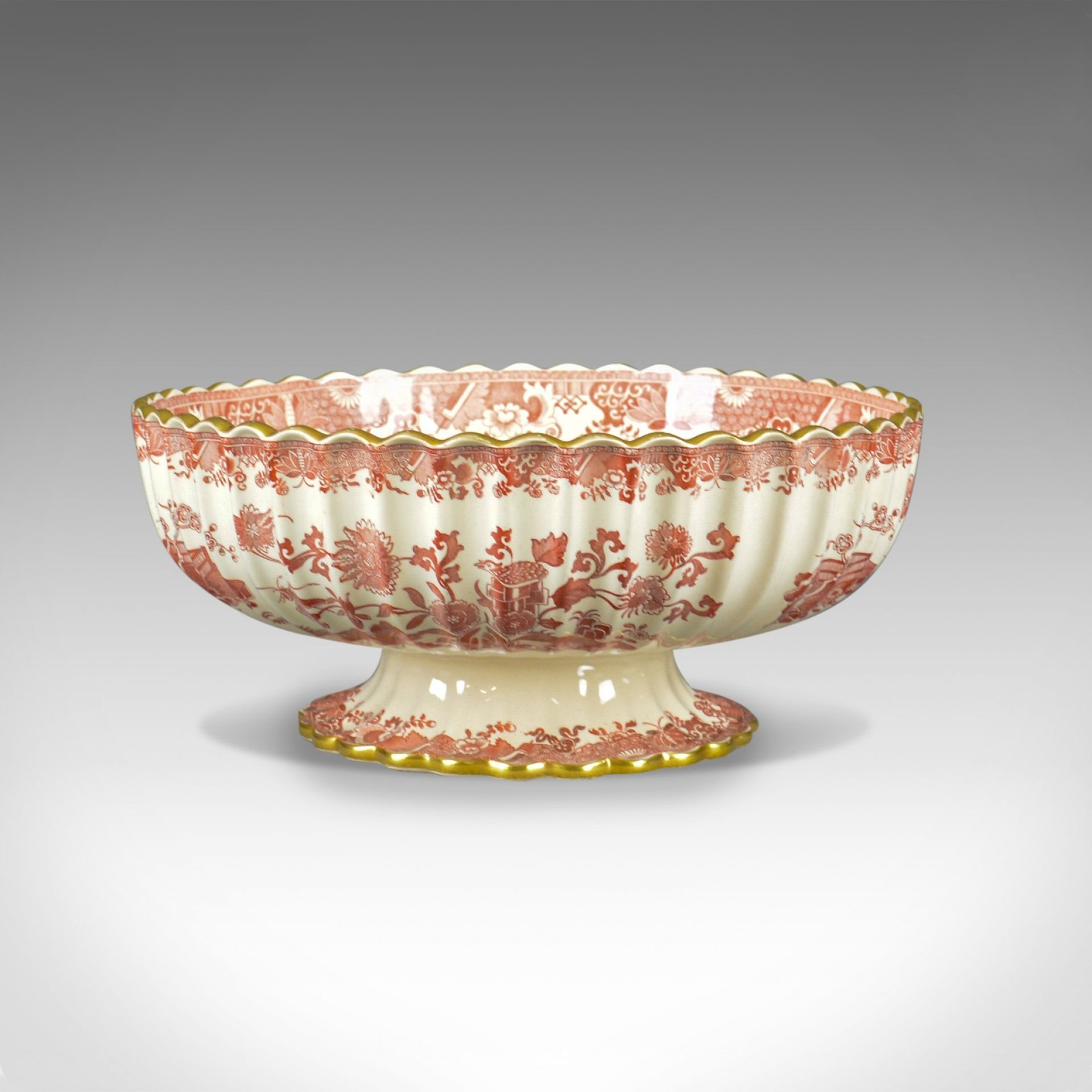 Antique Footed Bowl, Red and White, Copeland Spode, Grasshopper, c.1900
