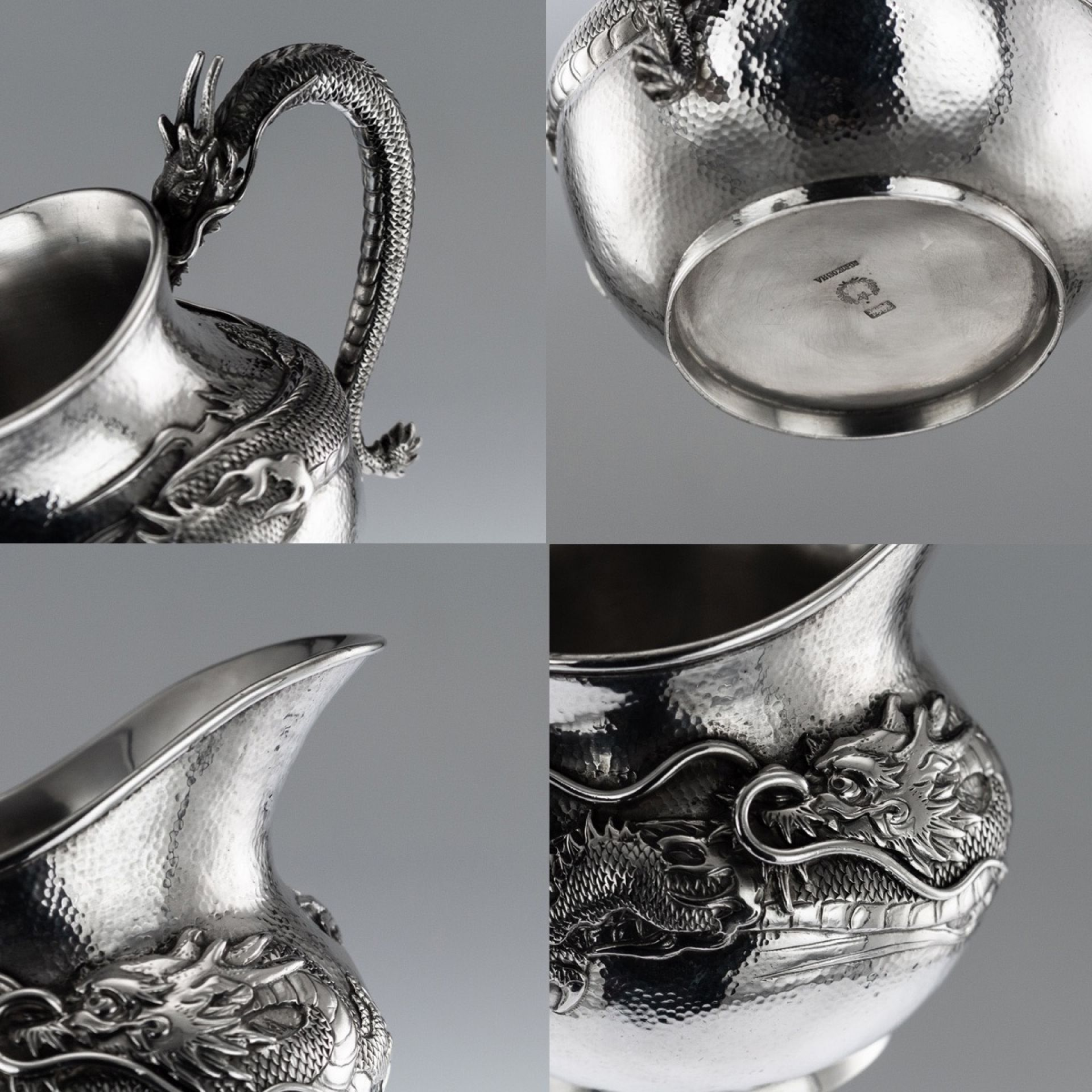 ANTIQUE 20thC JAPANESE SOLID SILVER DRAGON TEA & COFFEE SET, SHOKOSHA c.1900