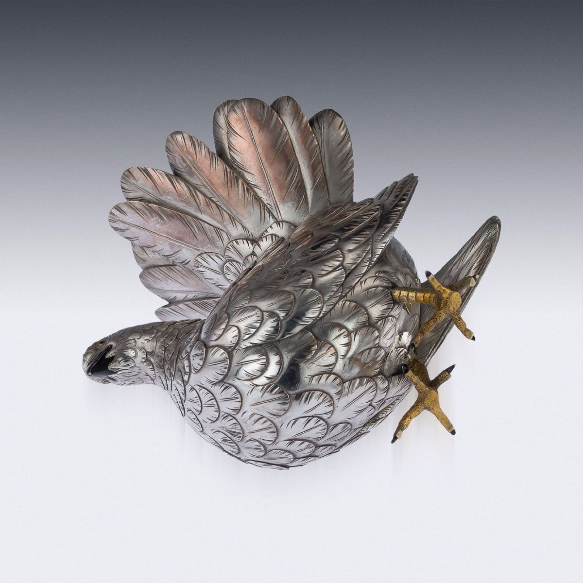 ANTIQUE 20thC JAPANESE SILVERED BRONZE MODEL OF A WOOD PIGEON c.1900