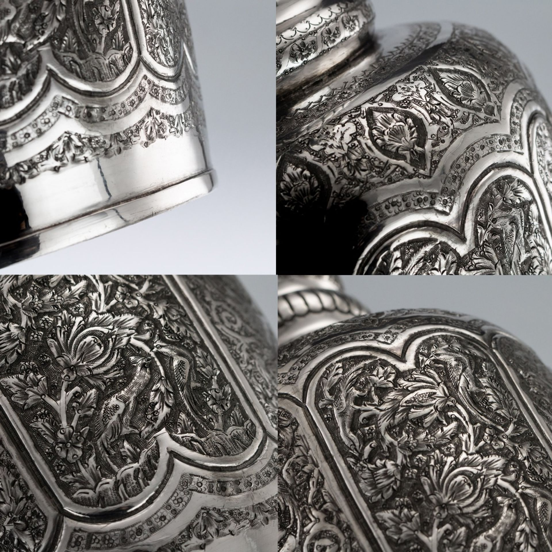 STUNNING 20thC PERSIAN MASSIVE SOLID SILVER REPOUSSE DECANTER c.1950