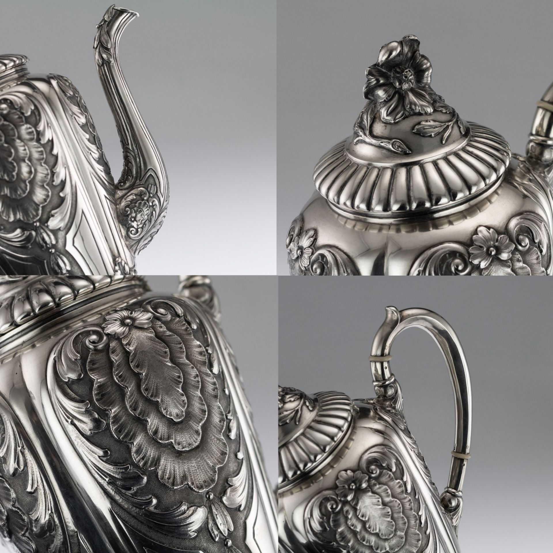 ANTIQUE 19thC IMPERIAL RUSSIAN SOLID SILVER TEA & COFFEE SET, 4th ARTEL c.1890