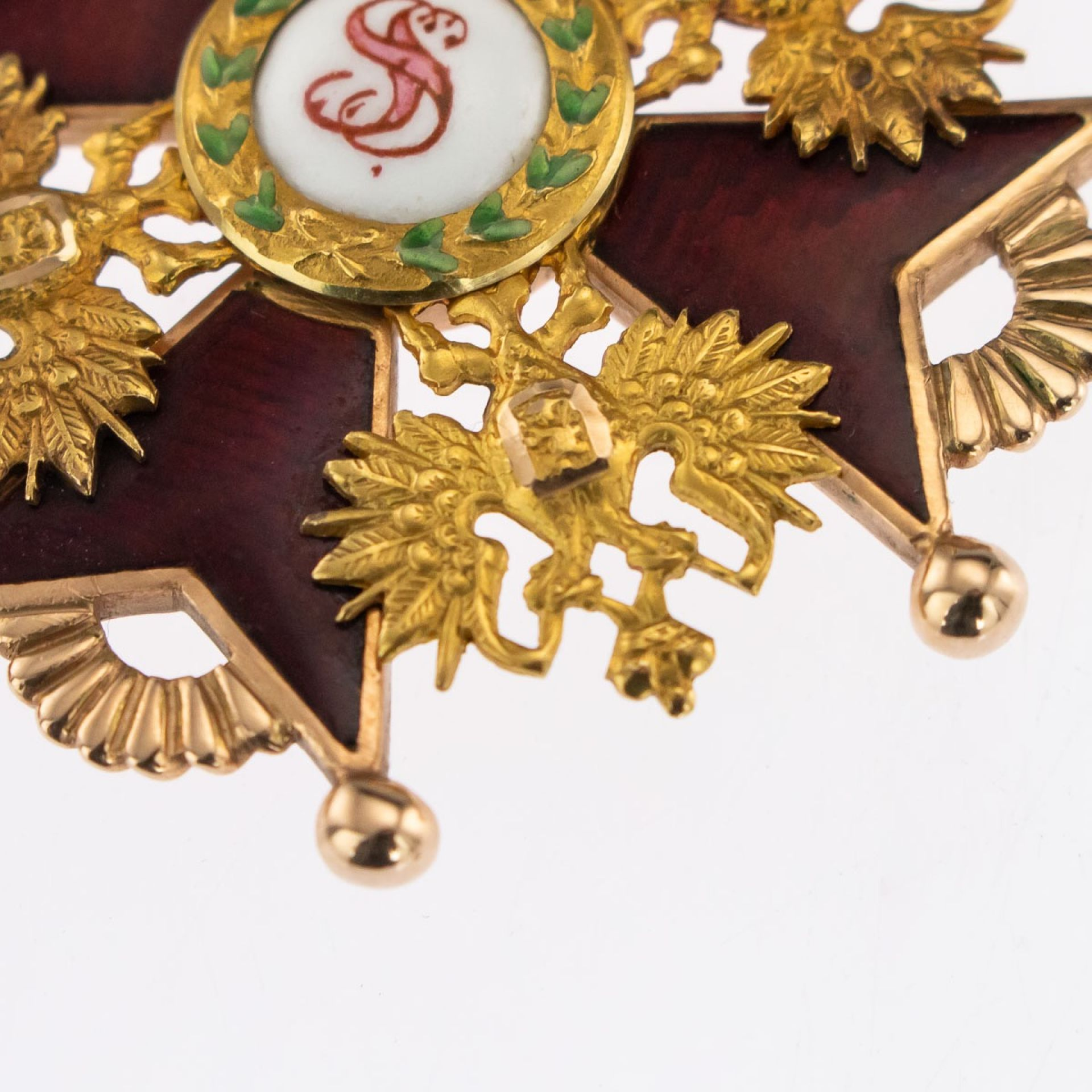 ANTIQUE 20thC RUSSIAN GOLD & ENAMEL 2ND CLASS ST.STANISLAUS MEDAL BADGE c.1900