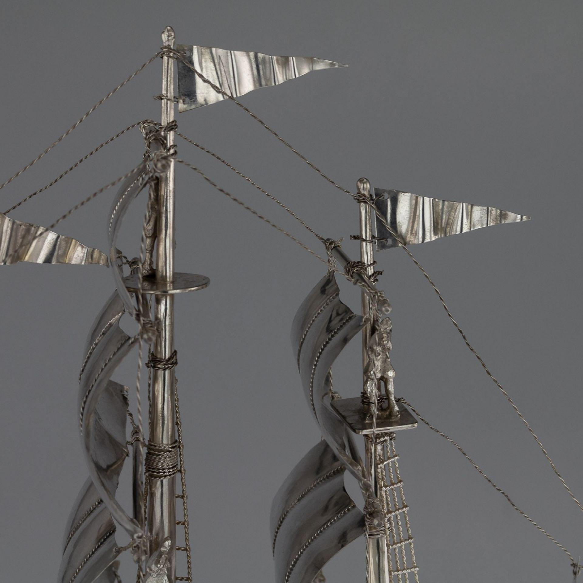 ANTIQUE 20thC GERMAN SOLID SILVER IMPRESSIVE LARGE NEFF GALLEON SHIP c.1930