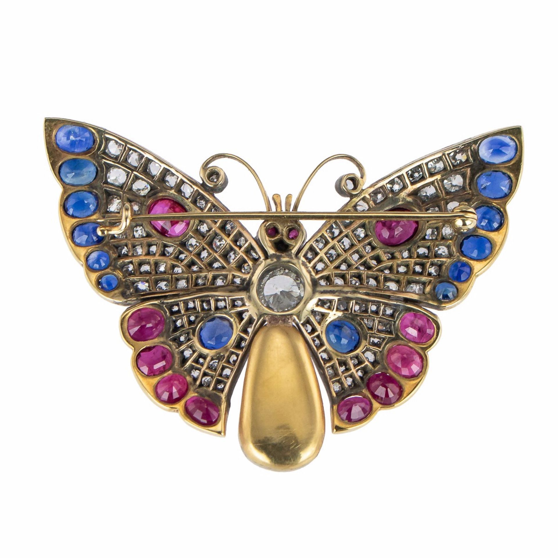 EXCEPTIONAL DIAMOND, SAPPHIRE, RUBY & PEARL SET 18K GOLD BUTTERFLY BROOCH
