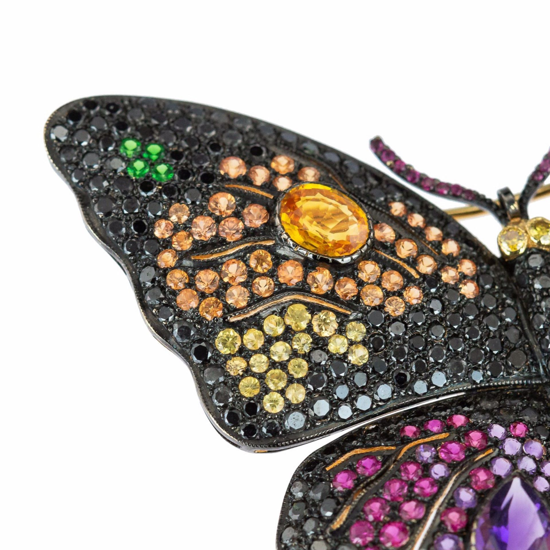EXCEPTIONAL BLACK DIAMONDS & GEM SET 18K GOLD BUTTERFLY BROOCH
