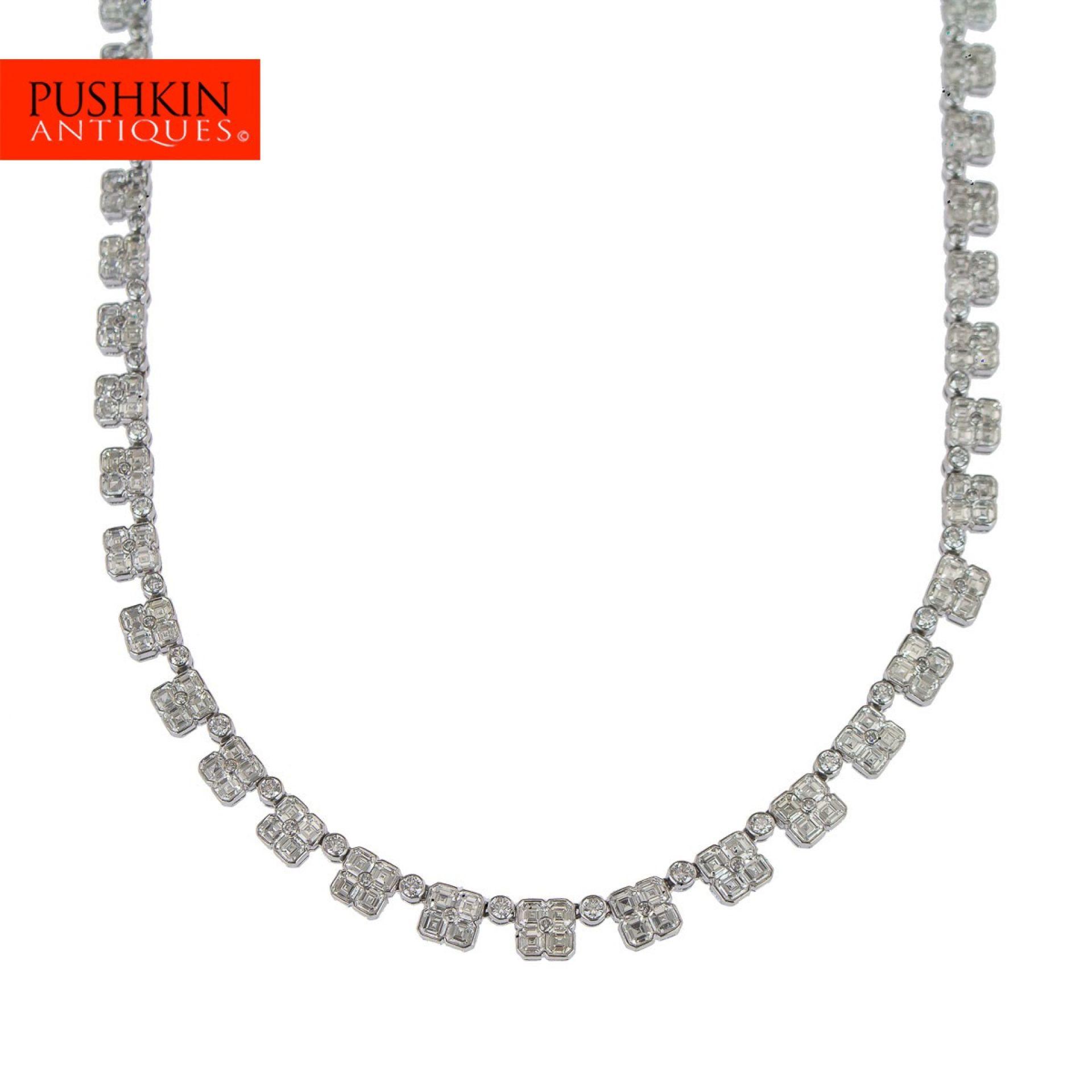 ELEGANT DIAMOND SET 18K (750) WHITE GOLD NECKLACE
