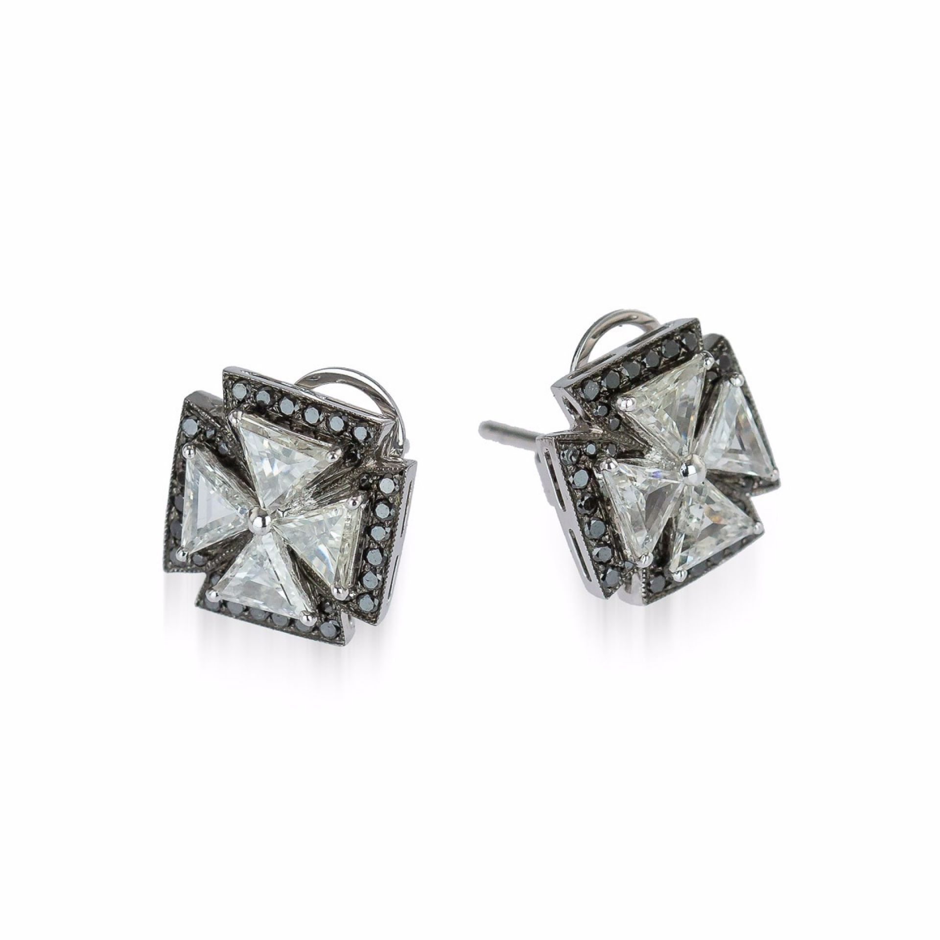 MALTESE CROSS 18K WHITE GOLD & DIAMOND EARRINGS