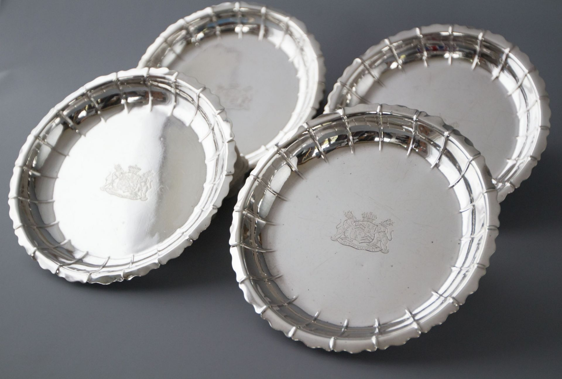 A Set of 4 Silver Strawberry Dishes, London 1835 by Robert Garrard
