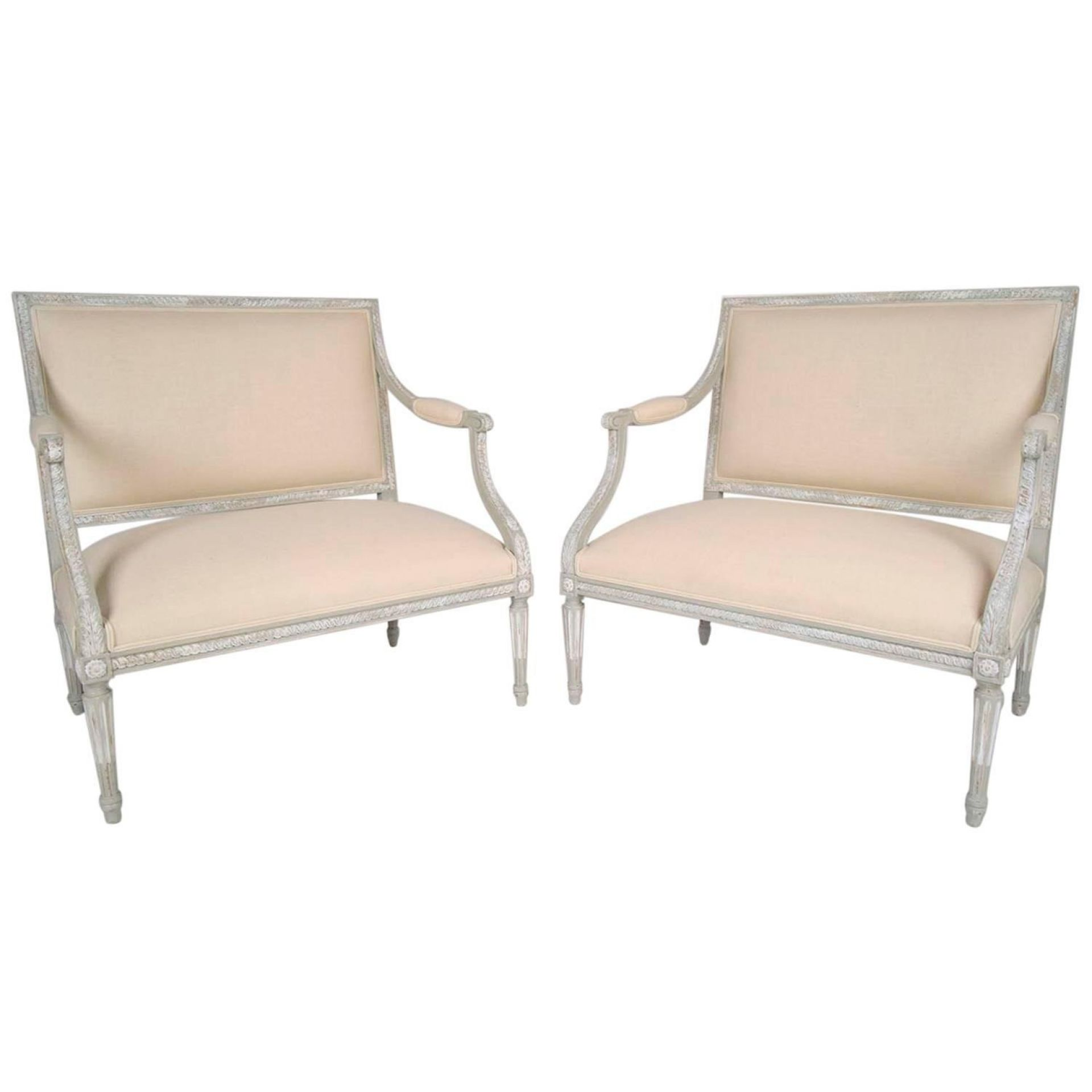 Pair of Antique French Louis XVI Wide Seat Arm Chairs