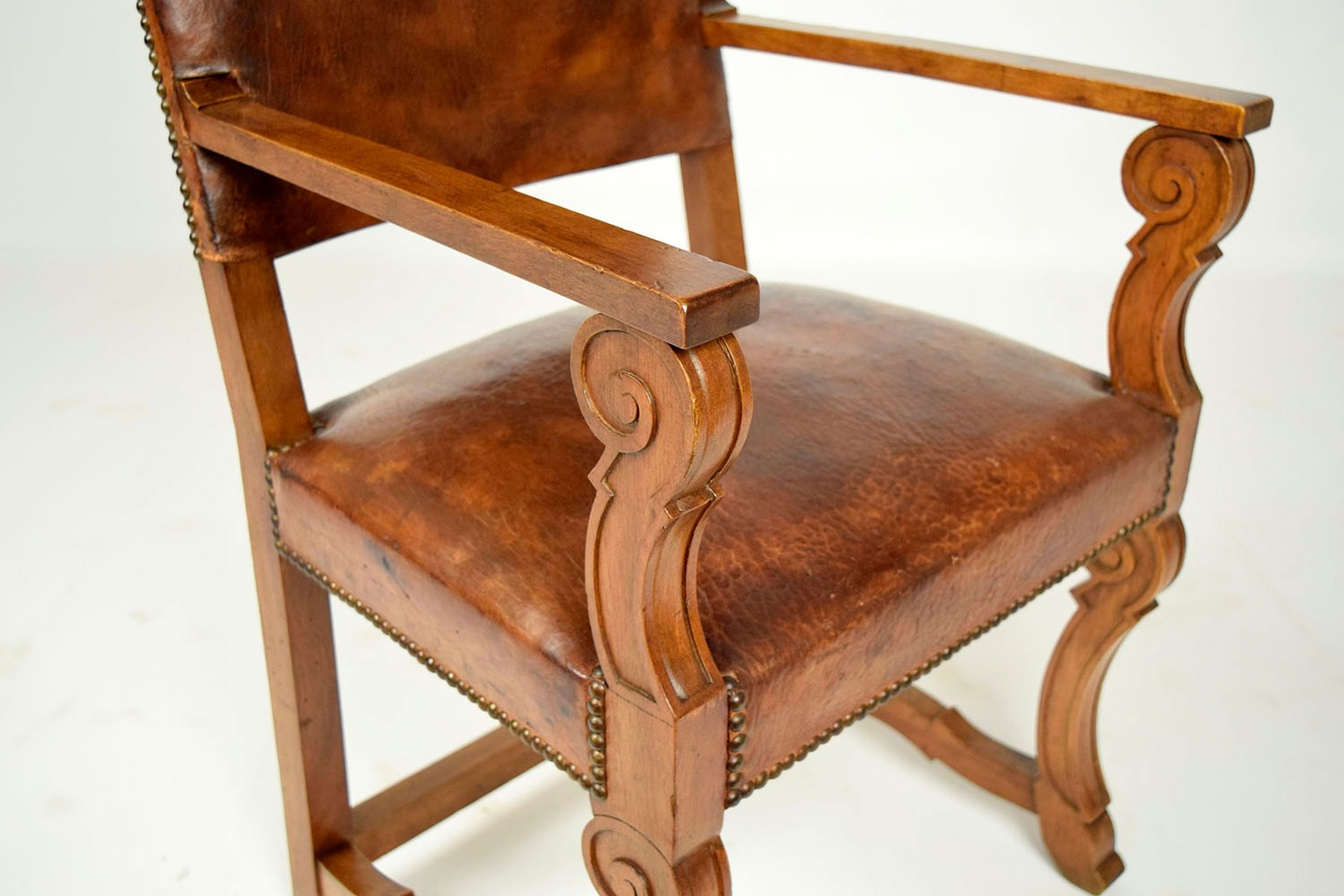 Antique Pair of Leather Armchairs