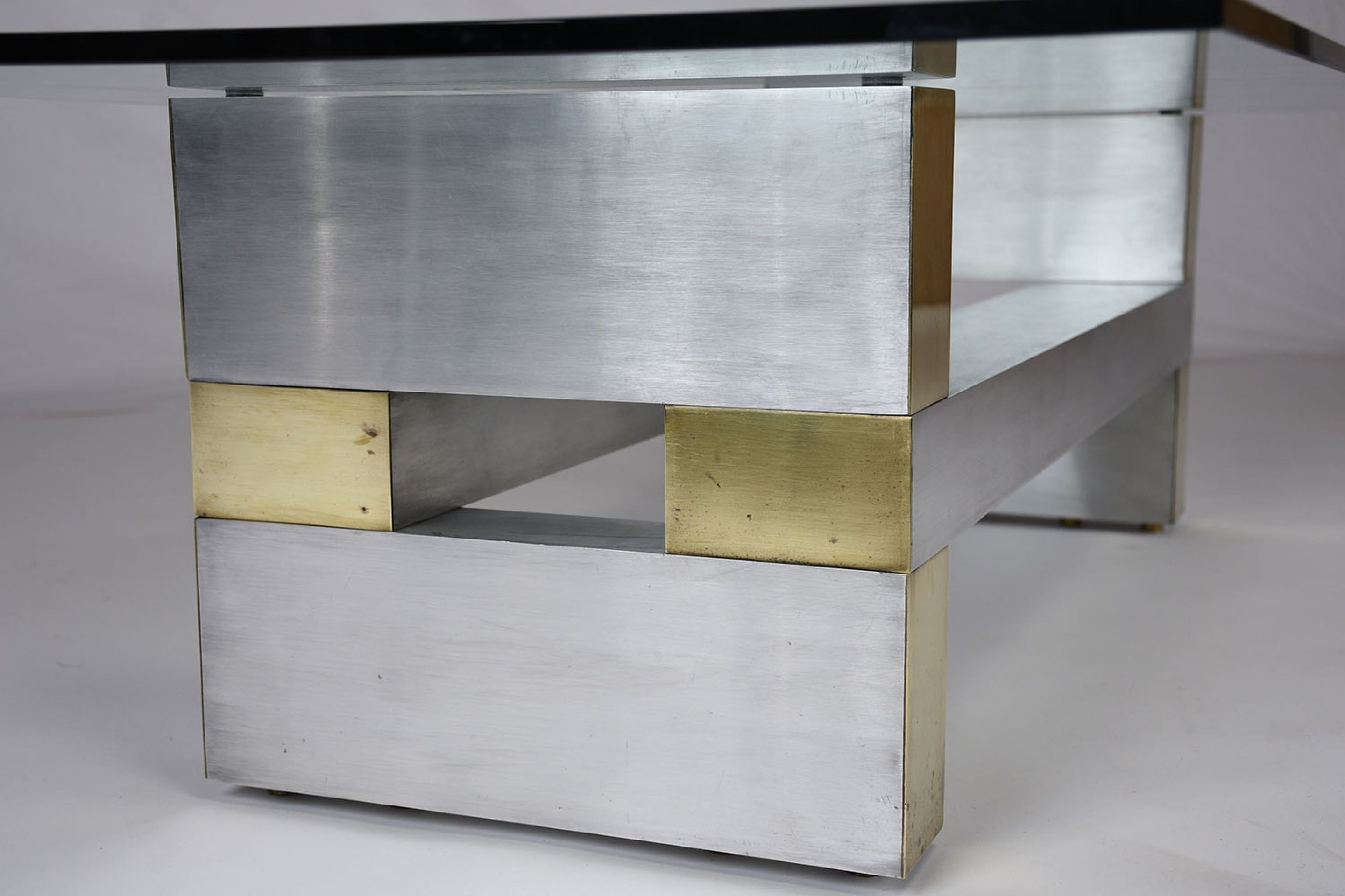 Mid-Century Brass and Chrome Coffee Table in the Manner of Paul Evans