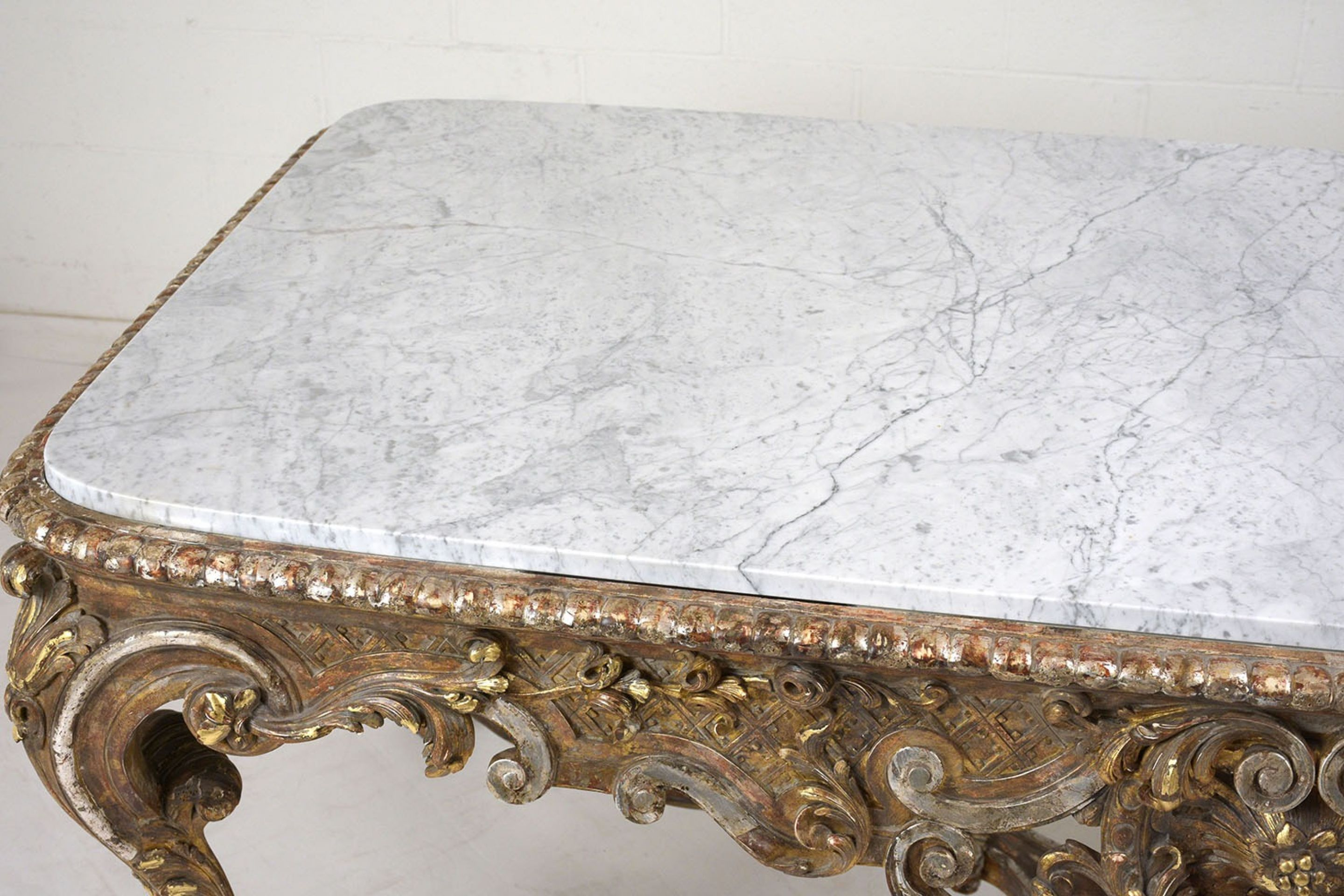 French Period Louis XVI-Style Silver and Gold Gilded Center Table