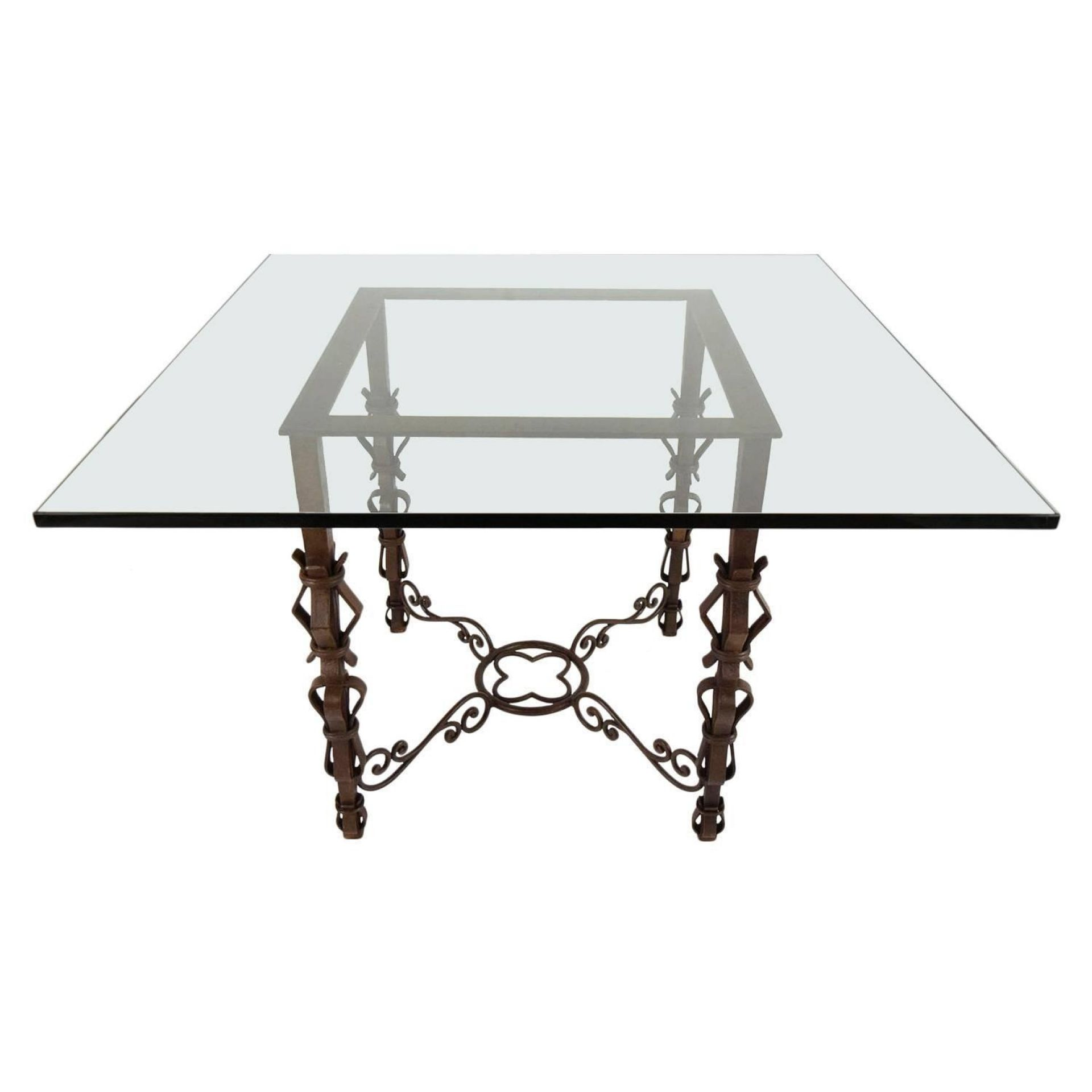 Spanish-Style Square Glass Top Center Table with Iron Base