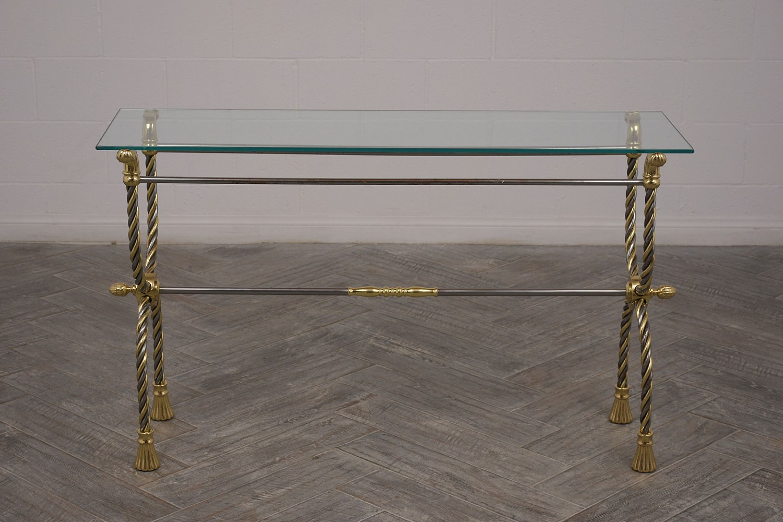 Modern Chrome and Brass Sofa Table