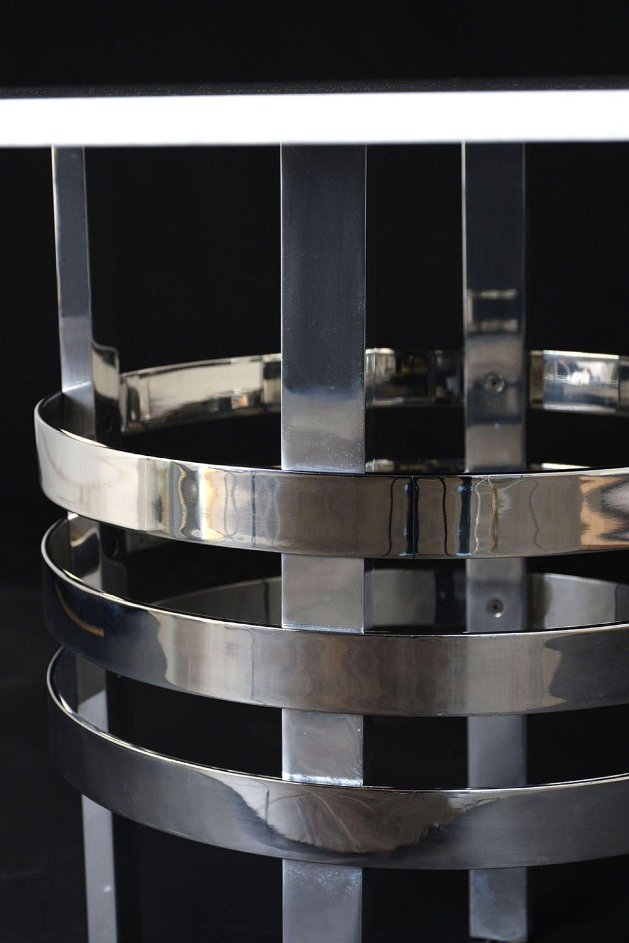 Mid-Century Modern Chrome an Marble Round Center Table