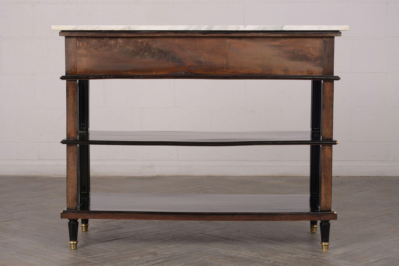Antique French Louis XVI Ebonized Console Table W/ Carrara Marble Top