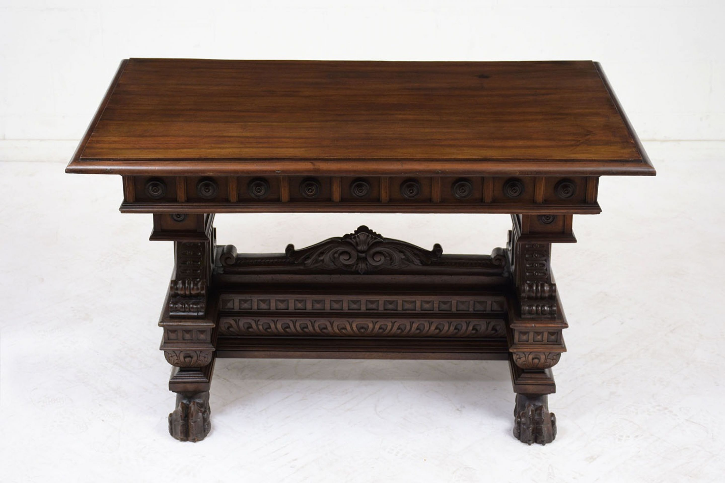Italian Renaissance-style Carved Wood Library Table