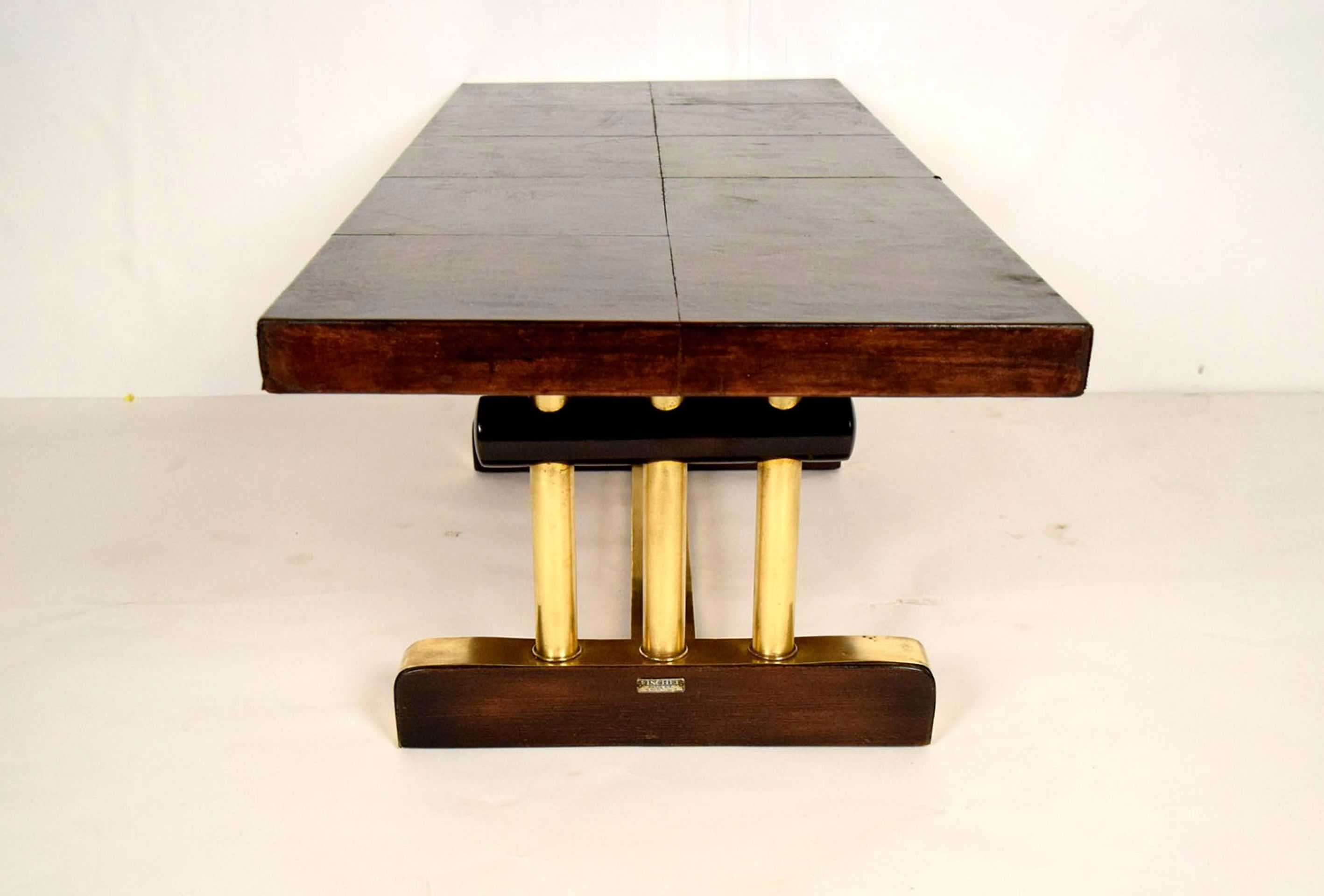 French Leather and Brass Coffee Table
