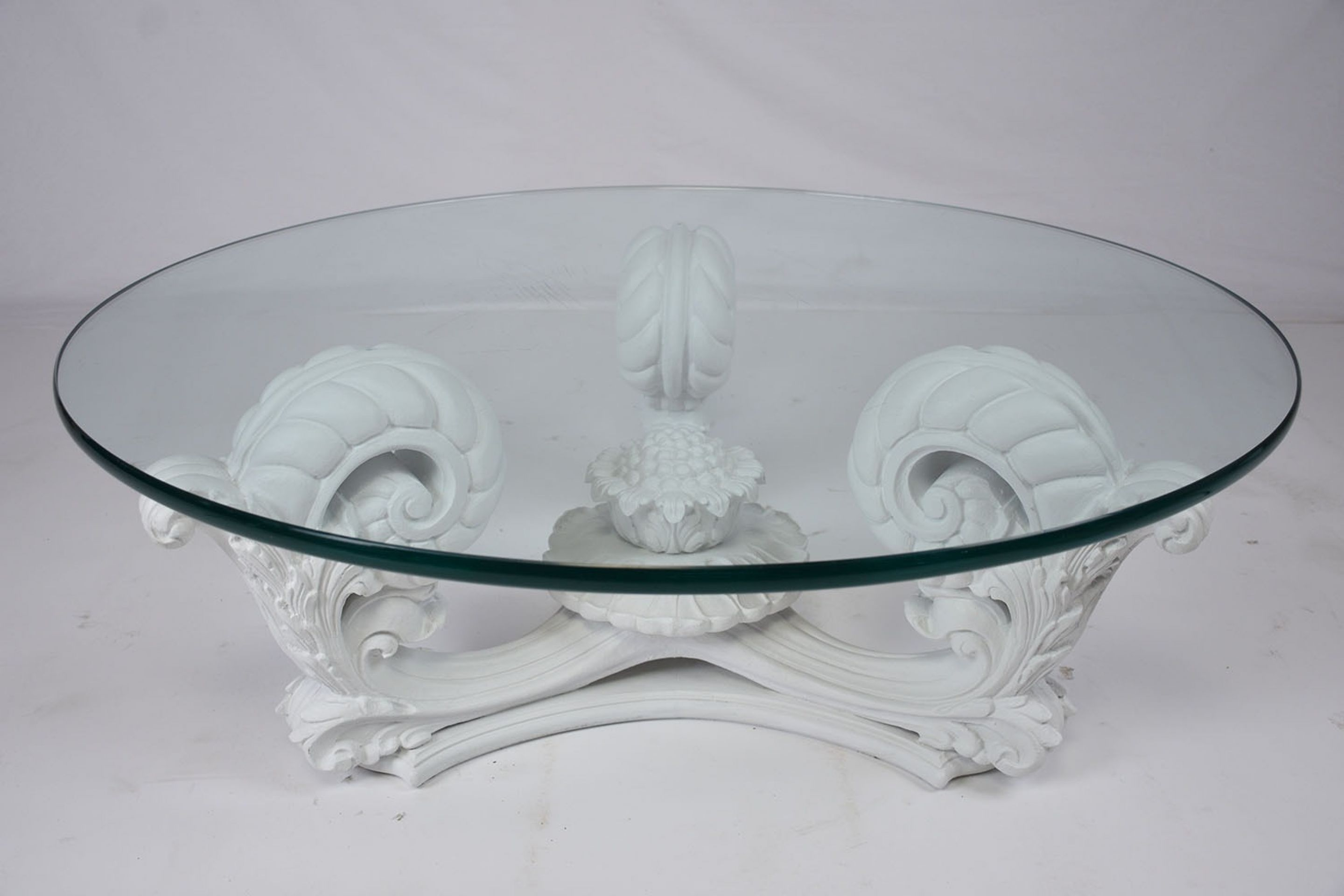 Hollywood Regency Style Glass and Wood Coffee Table