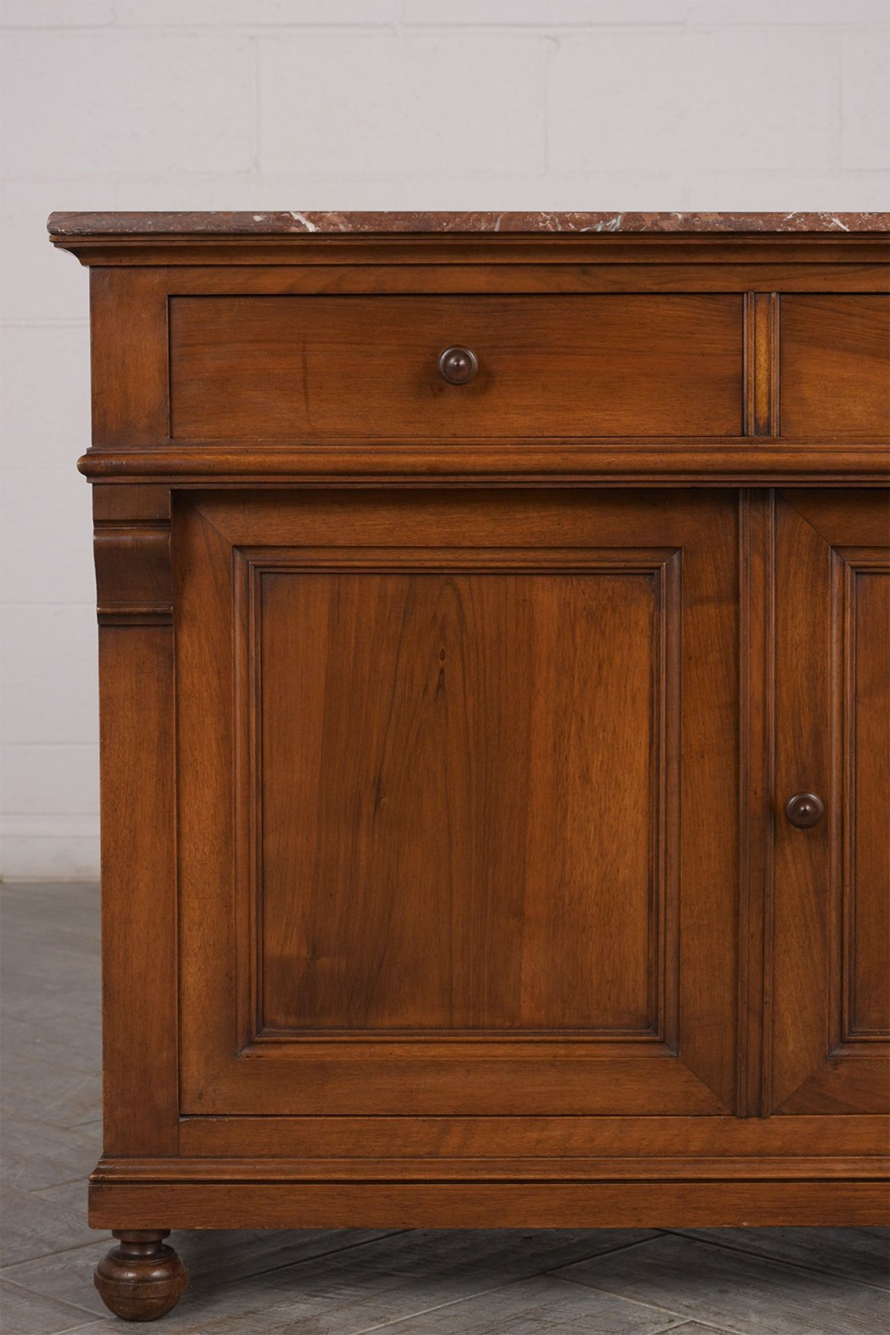 French Renaissance 1890's Walnut Wood Cabinet with Rouge Marble Top