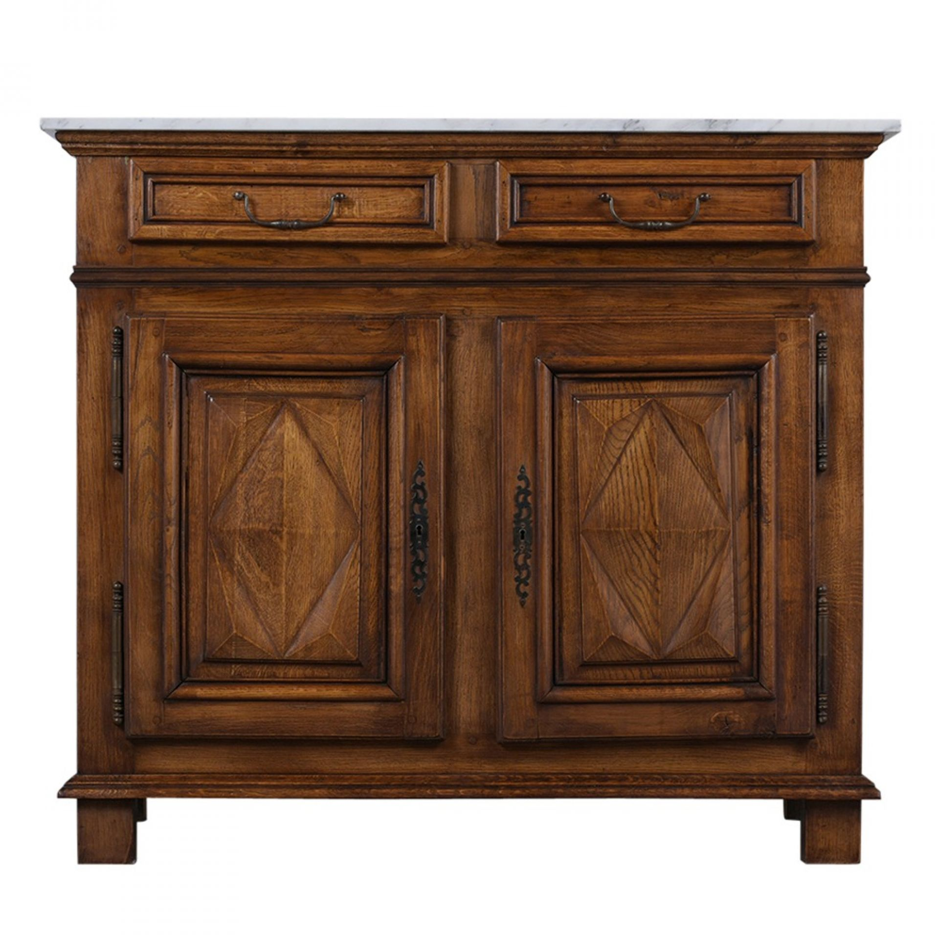 Antique French Provincial-Style Buffet with Carrara Marble Top