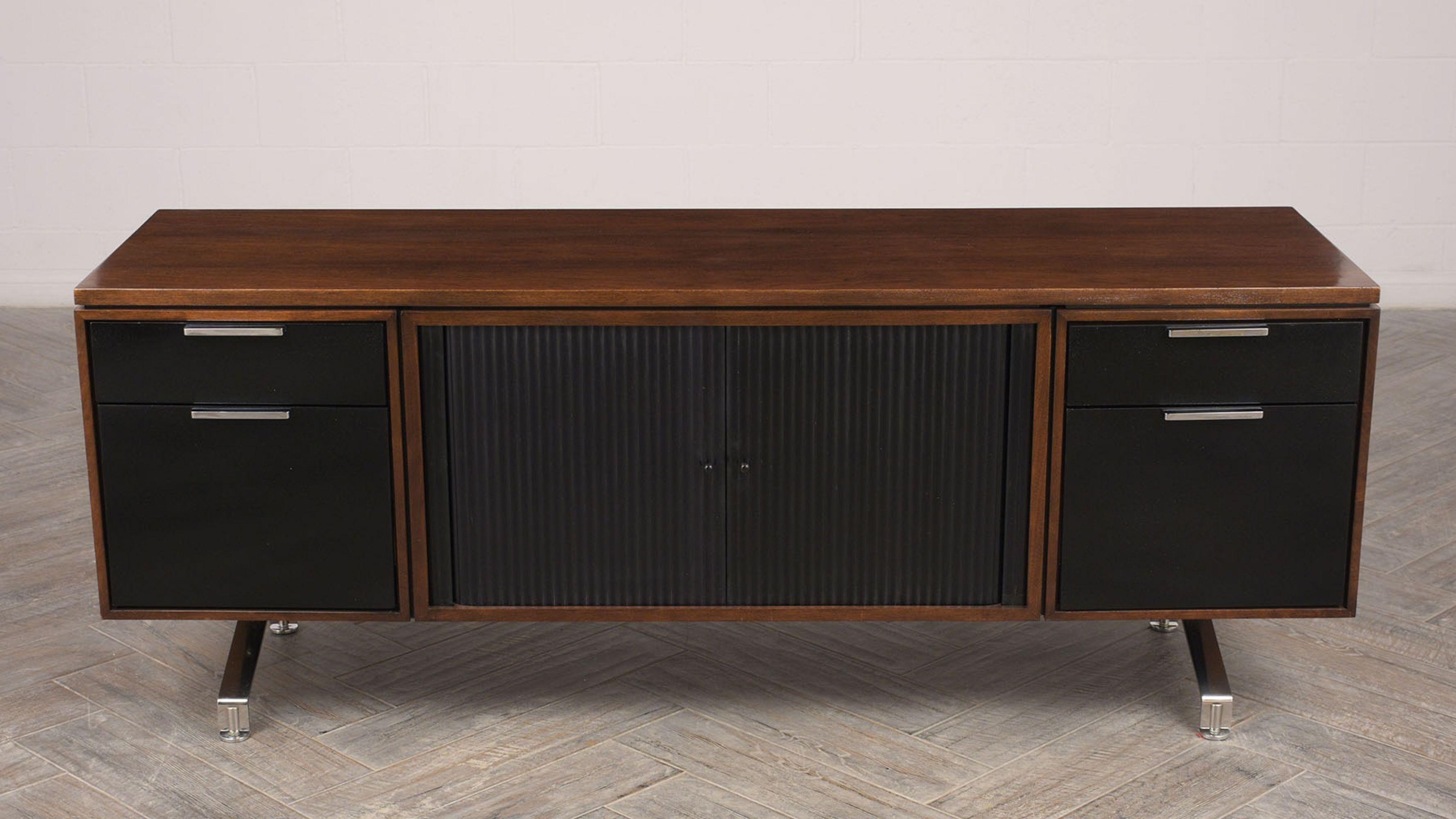 1960's Modern Walnut Credenza with Sliding Tambour Doors