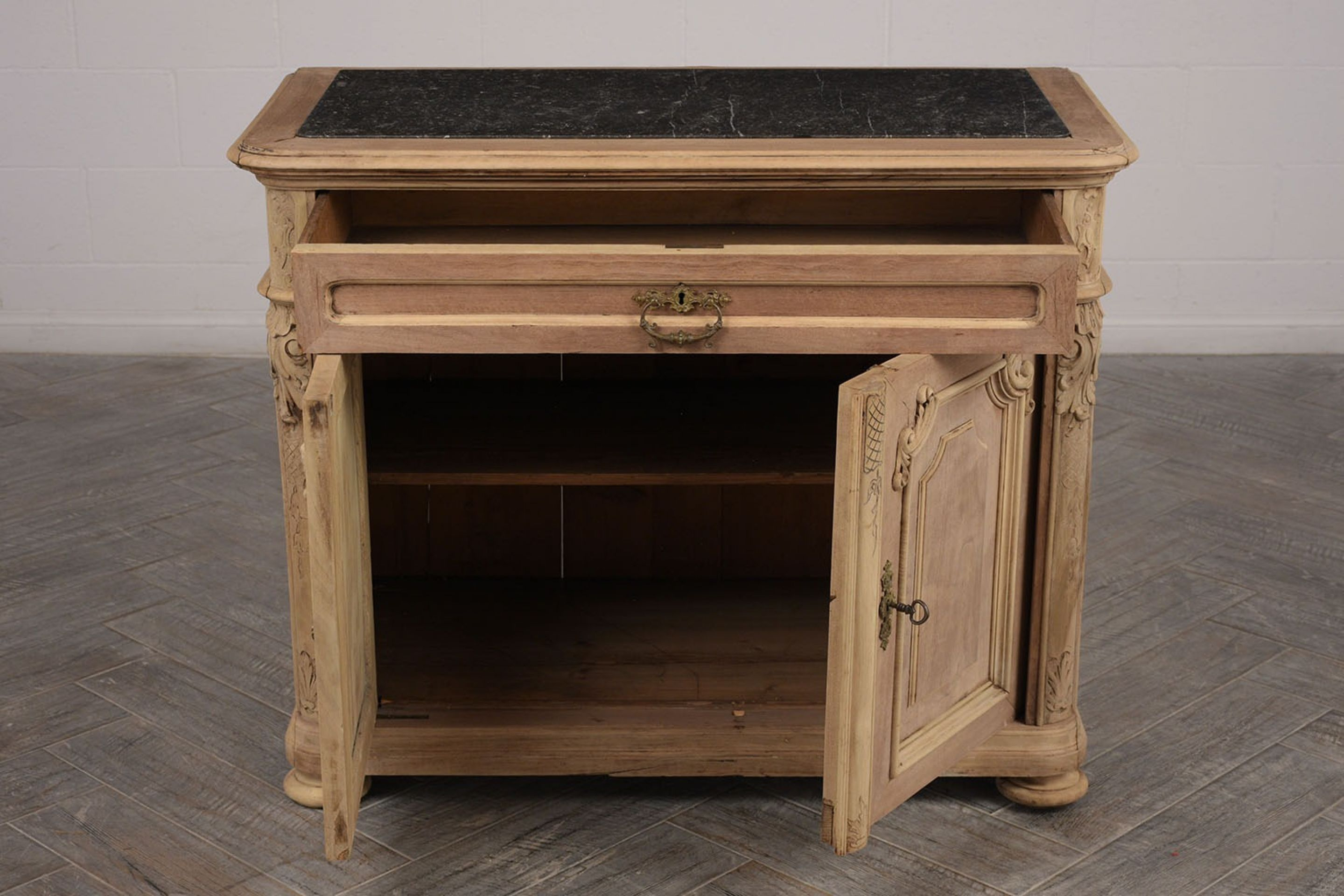 Elegant Marble Top French Renaissance-Style Server/Cabinet