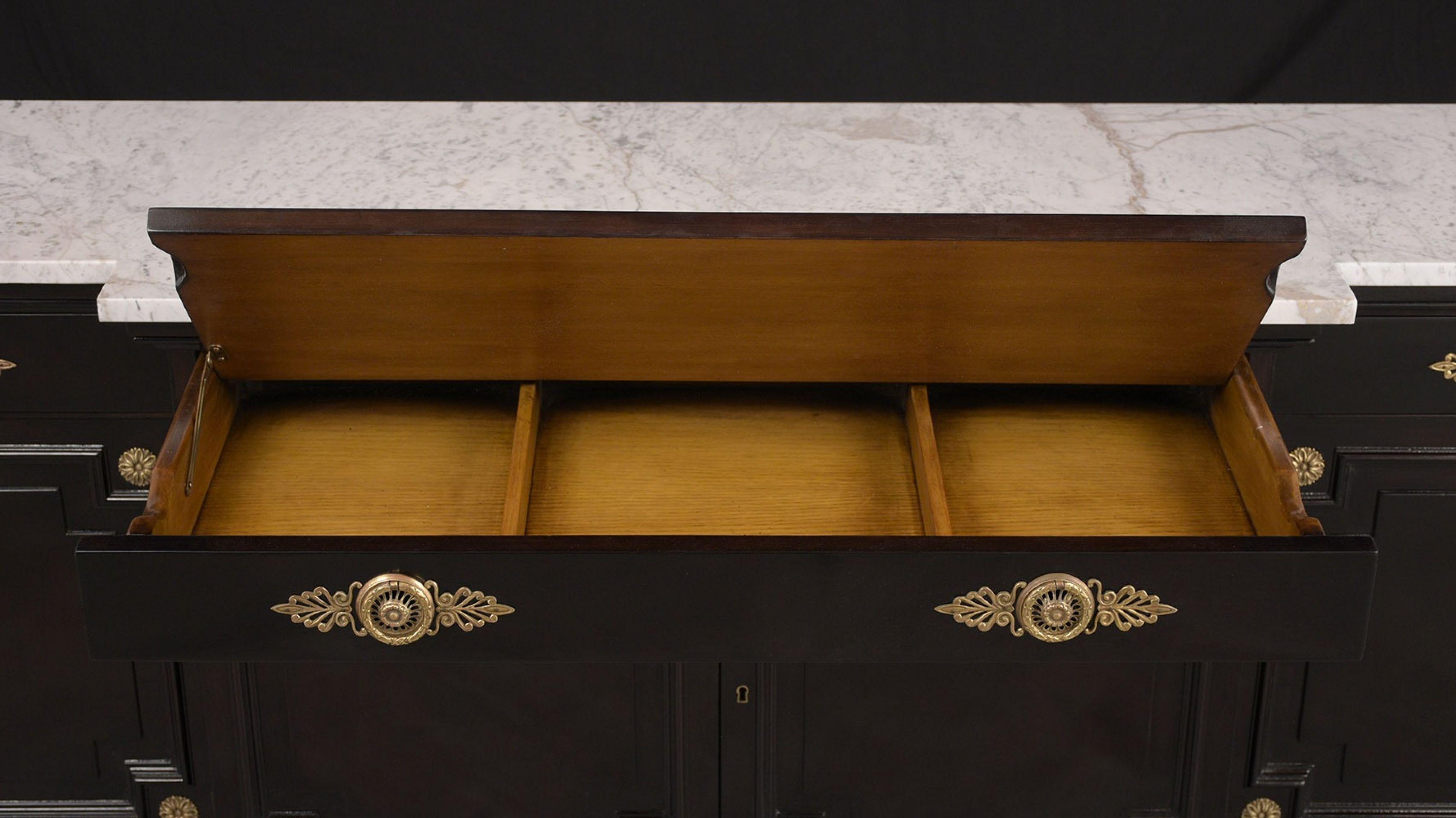 Elegant Hollywood-Regency-Style Ebonized Buffet w/Marble Top