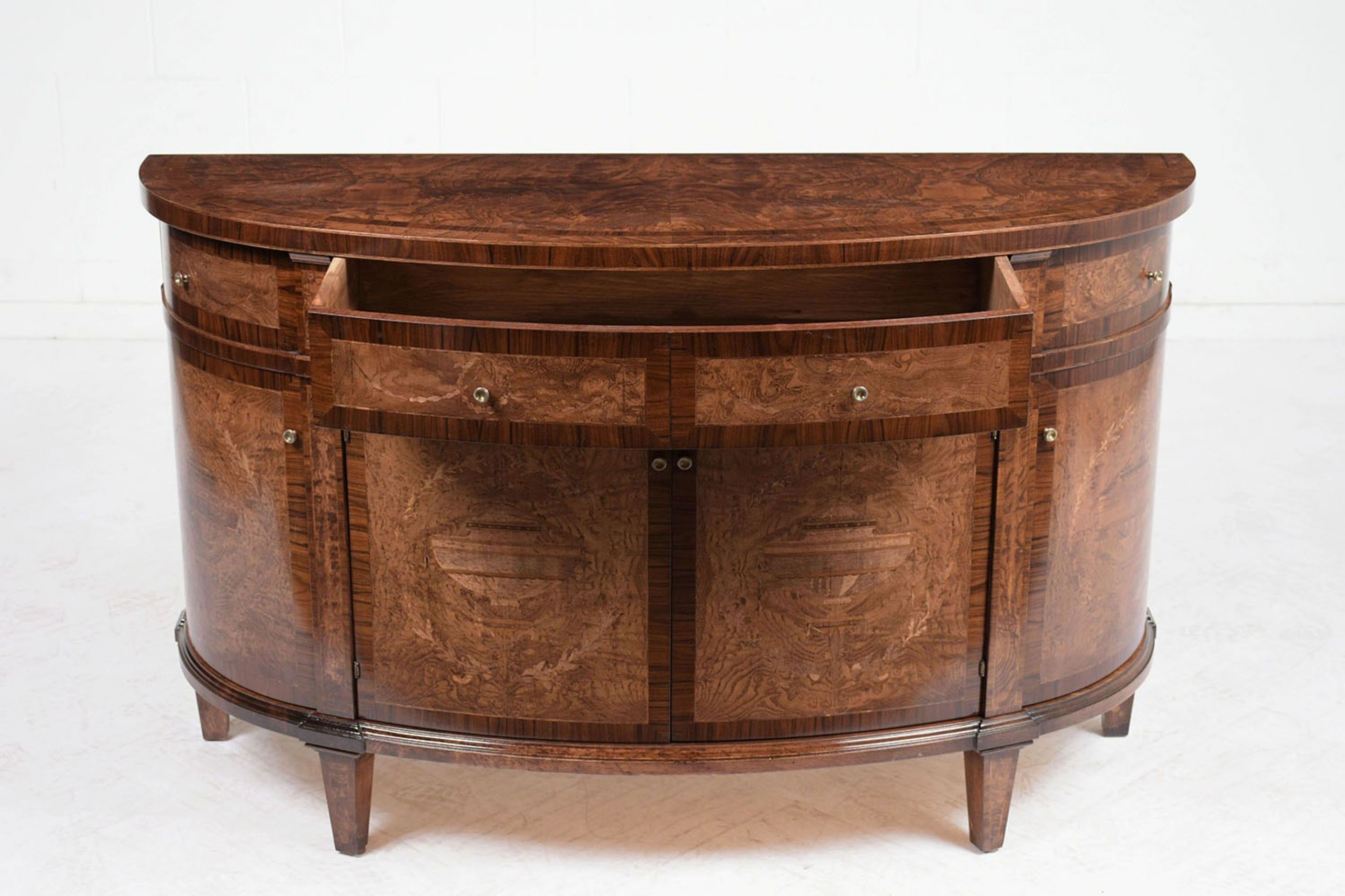 Contemporary Louis XVI-style Demilune Inlaid & Marquetry Buffet