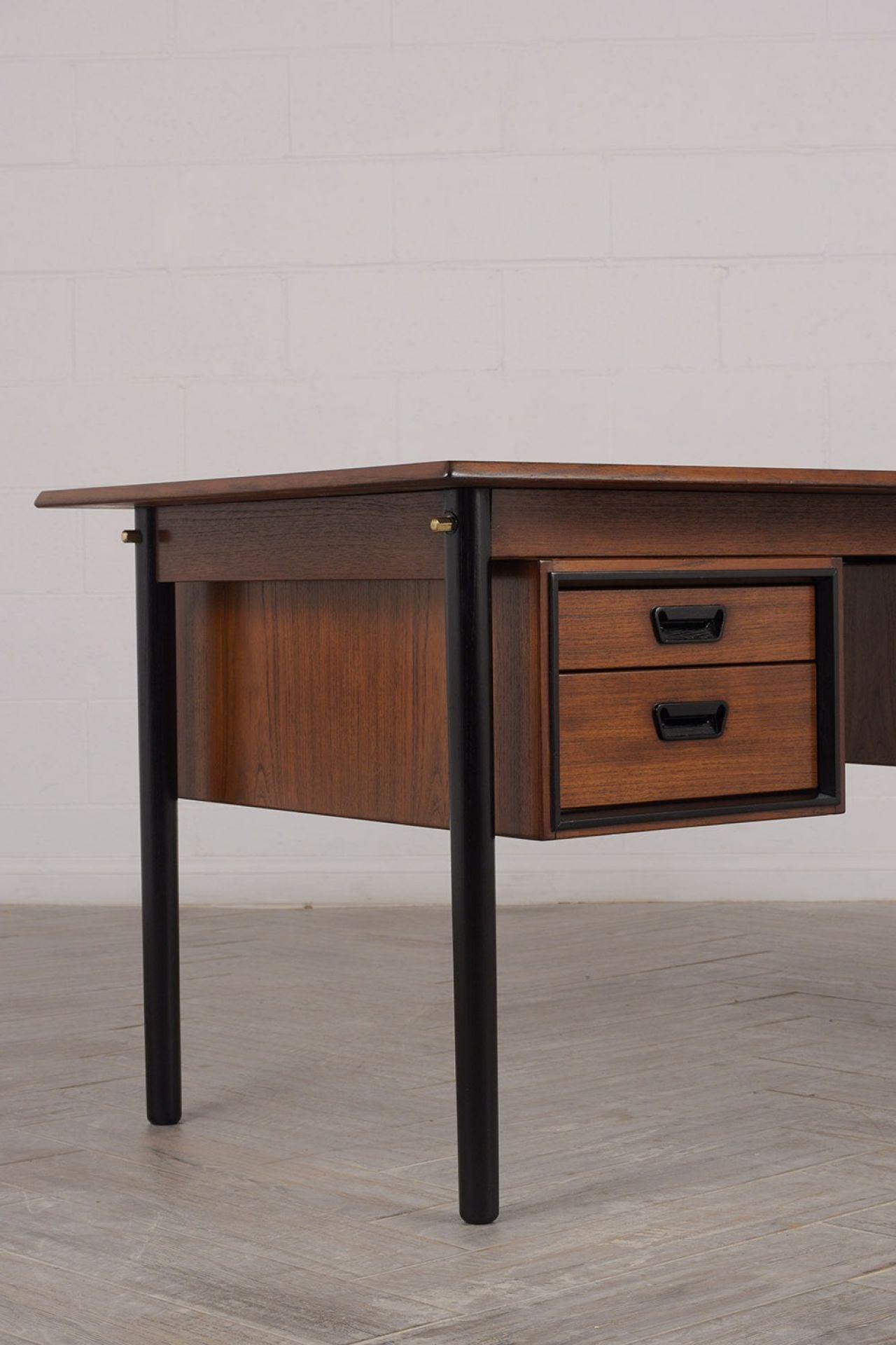 Mid Century Modern Walnut Floating Desk
