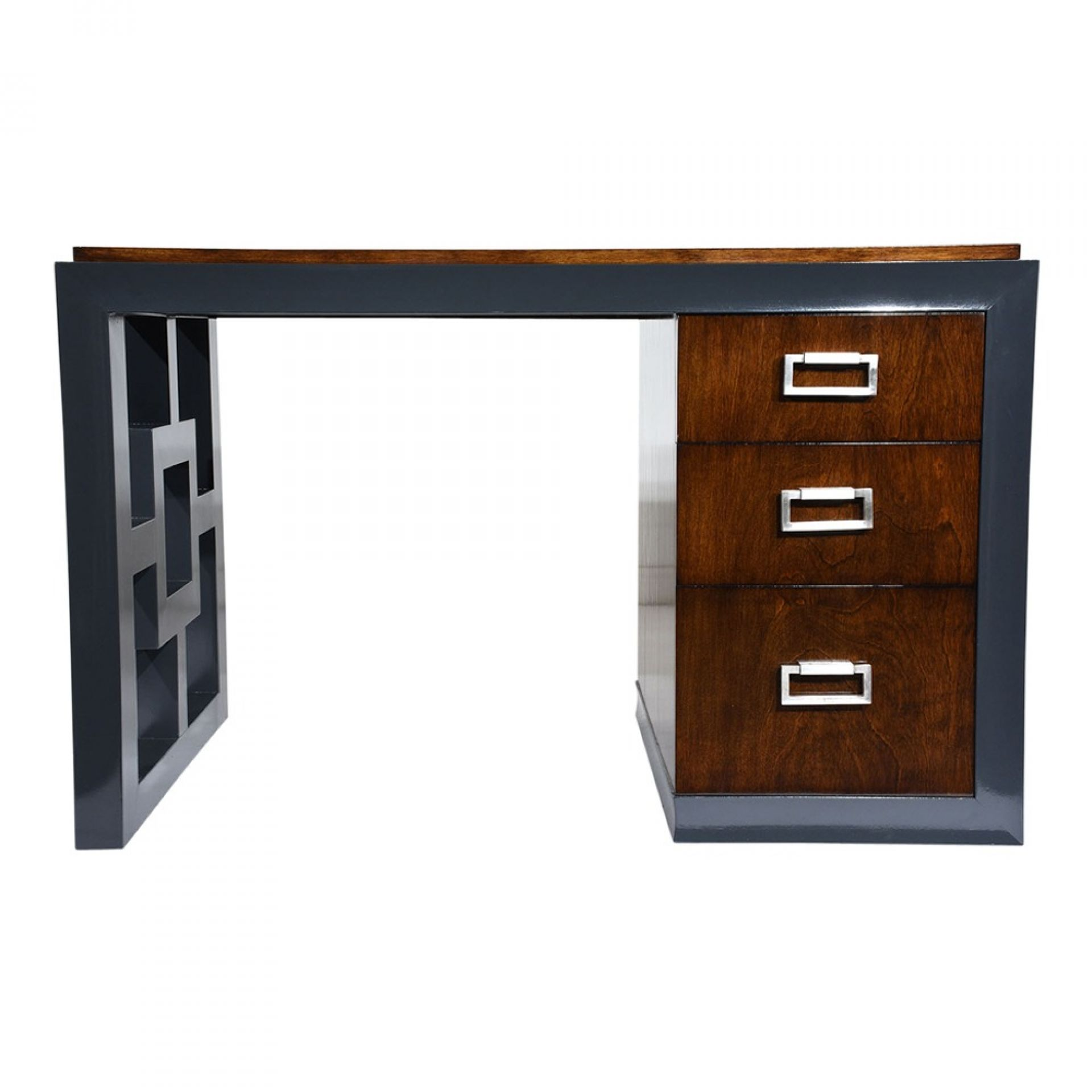 Mid-Century Modern Two-Tone Kneehole Desk