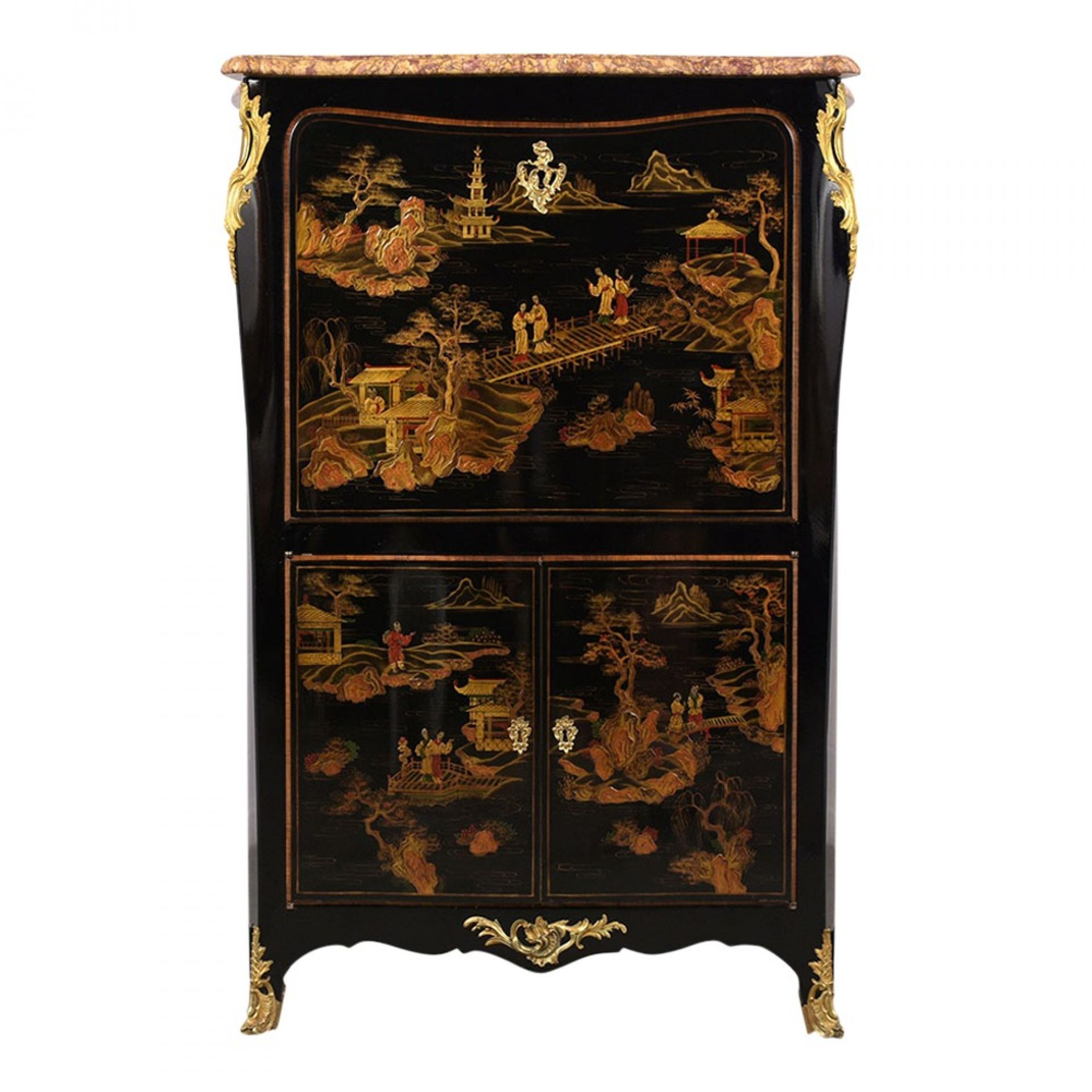Antique French Louis XVI Chinoiserie-style Secretaire
