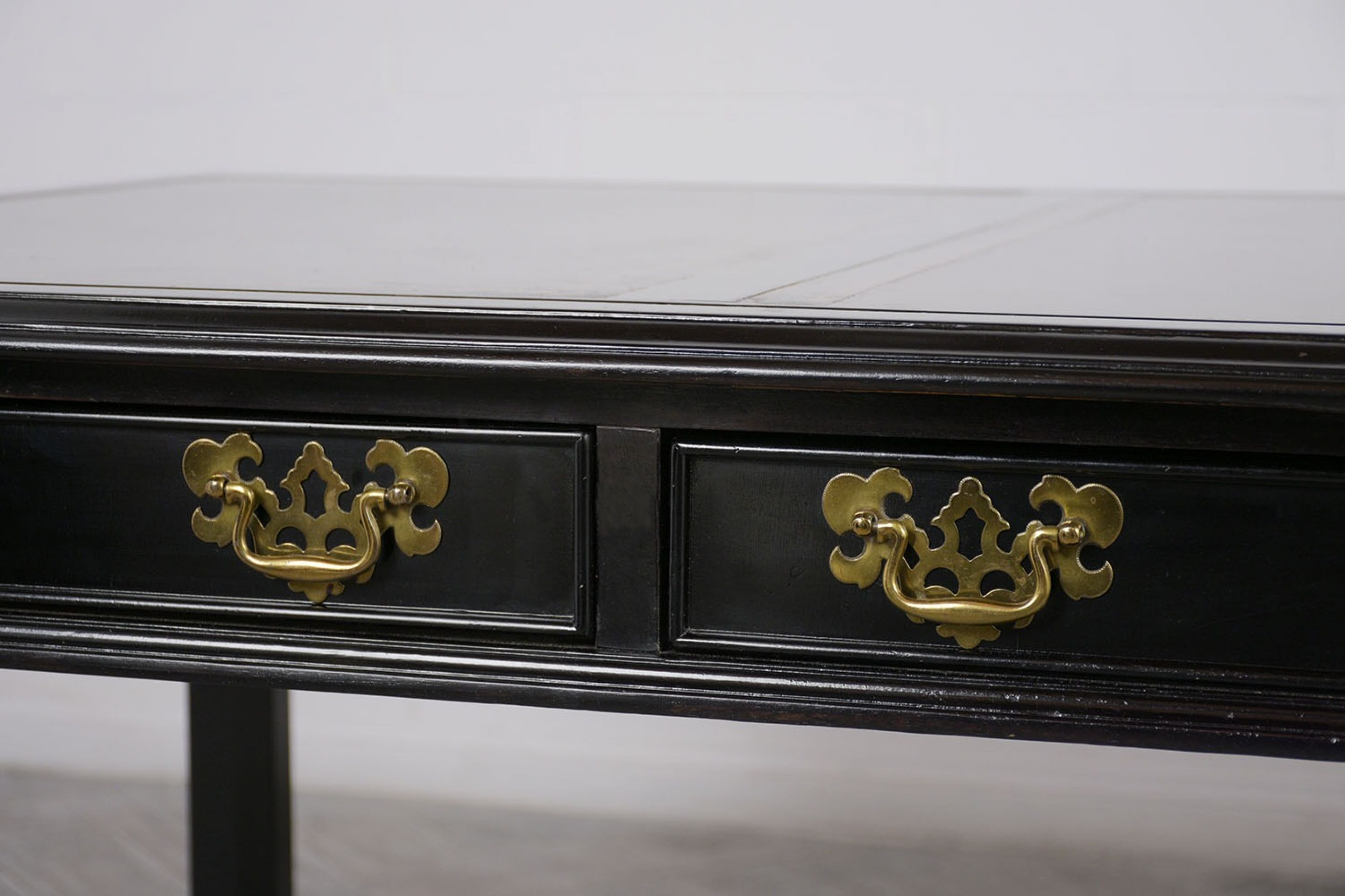 20th C. Custom Leather Top Regency-Style Six-Drawer Partners Desk