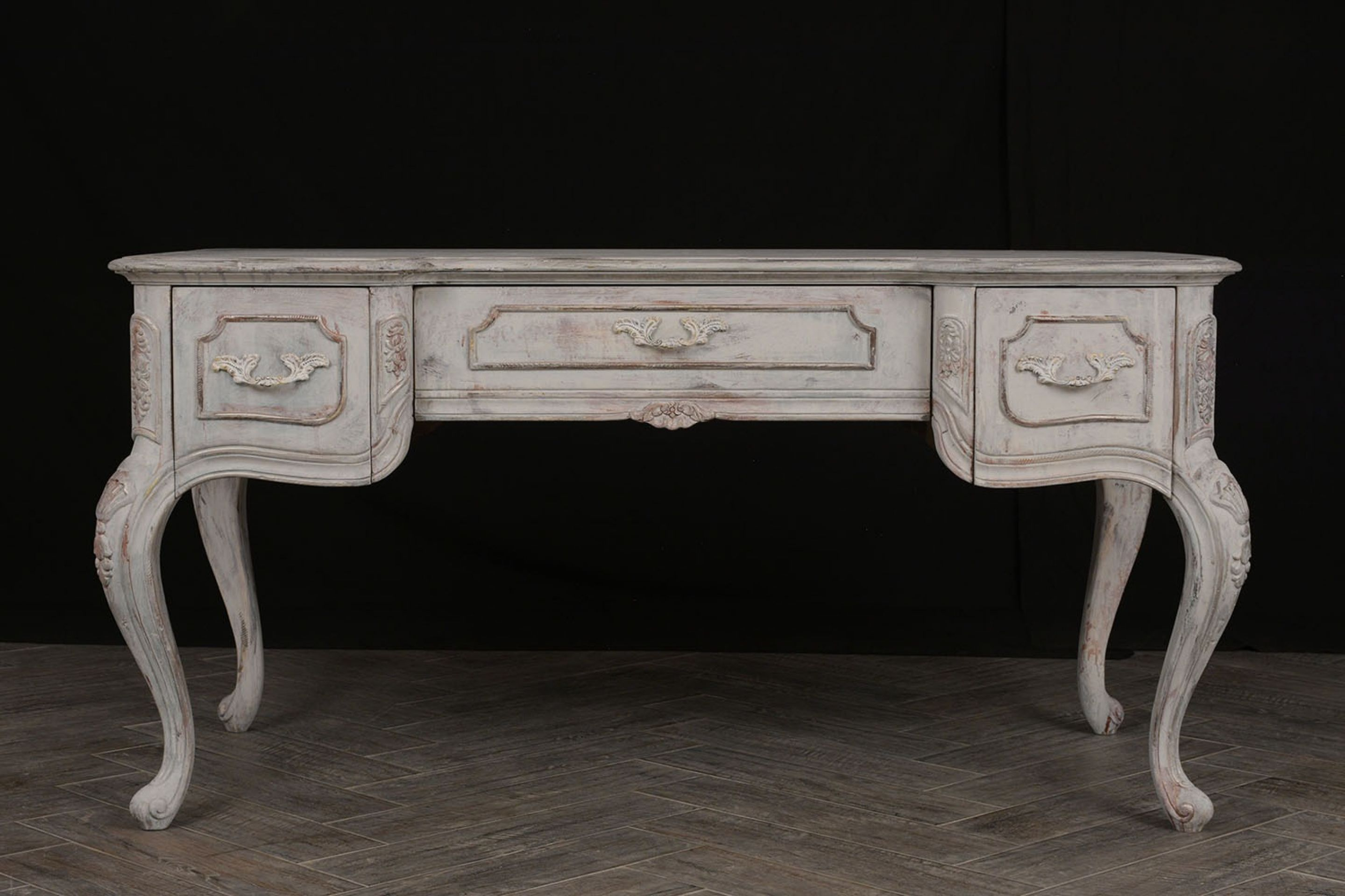 Traditional Louis XV-Style Distressed Finish Desk