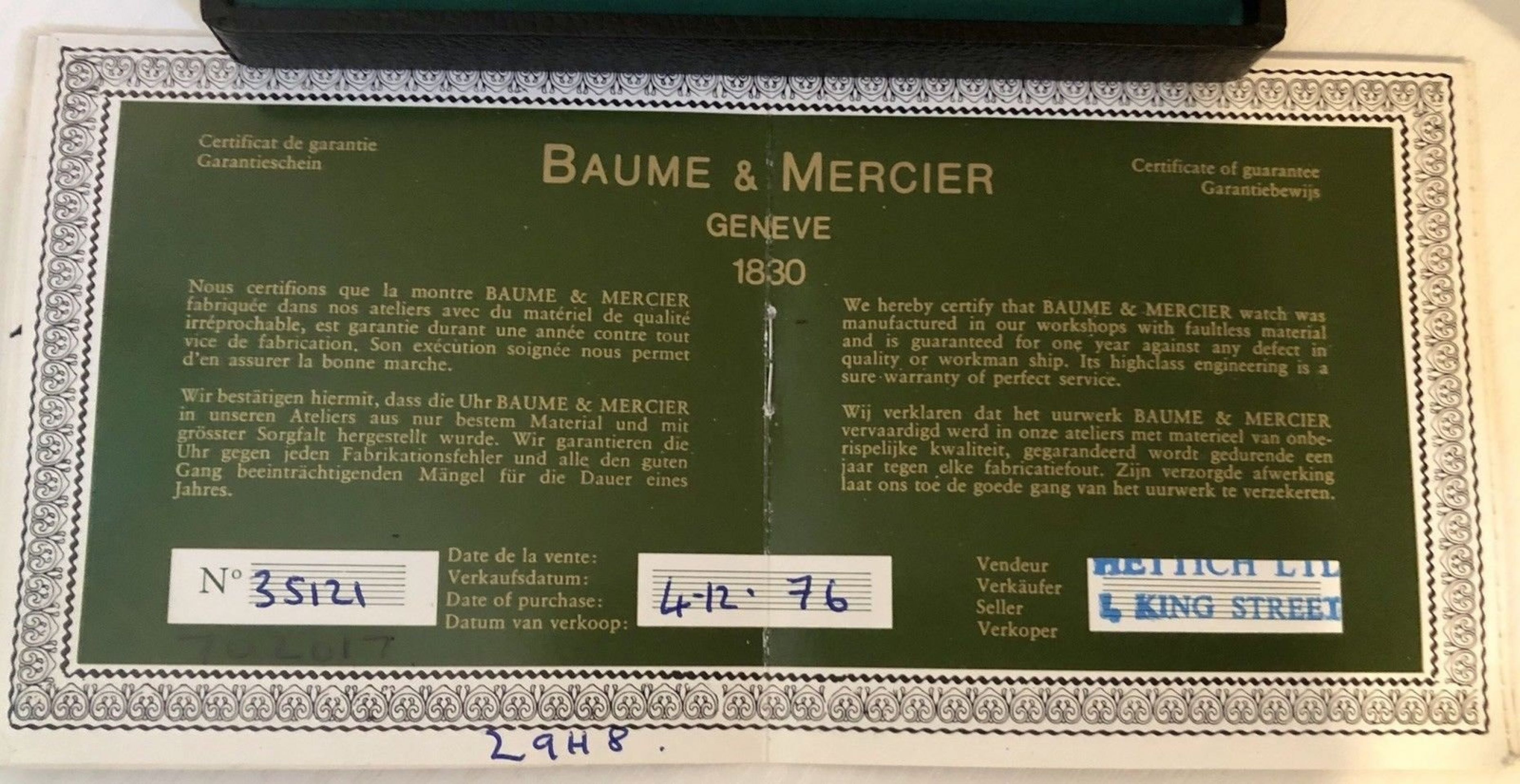 BAUME AND MERCIER 18K / 750 SOLID GOLD MECHANICAL MOVEMENT MEN'S WATCH