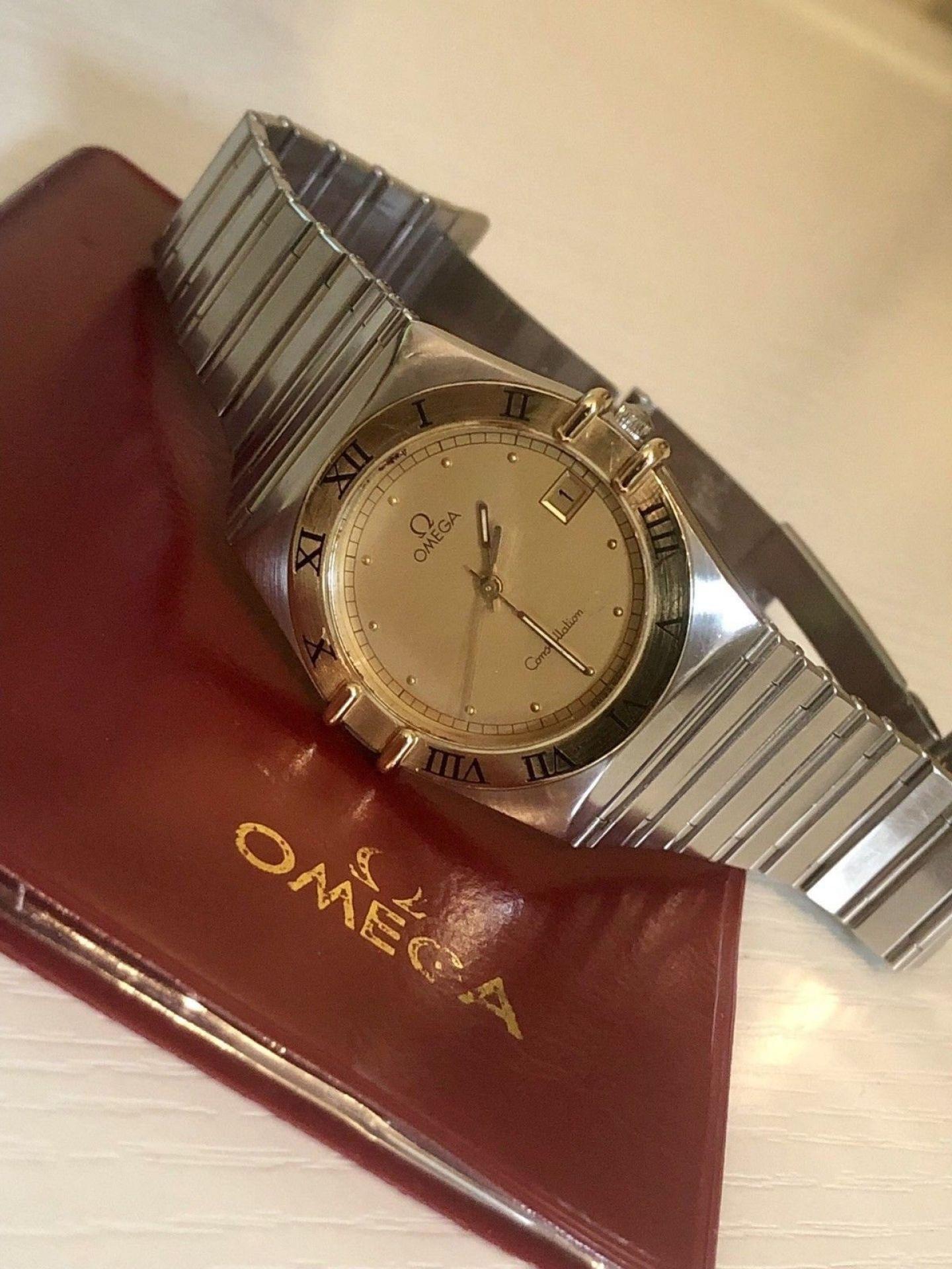 OMEGA MENS CONSTELLATION GENTS CLASSIC VINTAGE 1988 QUARTZ BATTERY 18K GOLD
