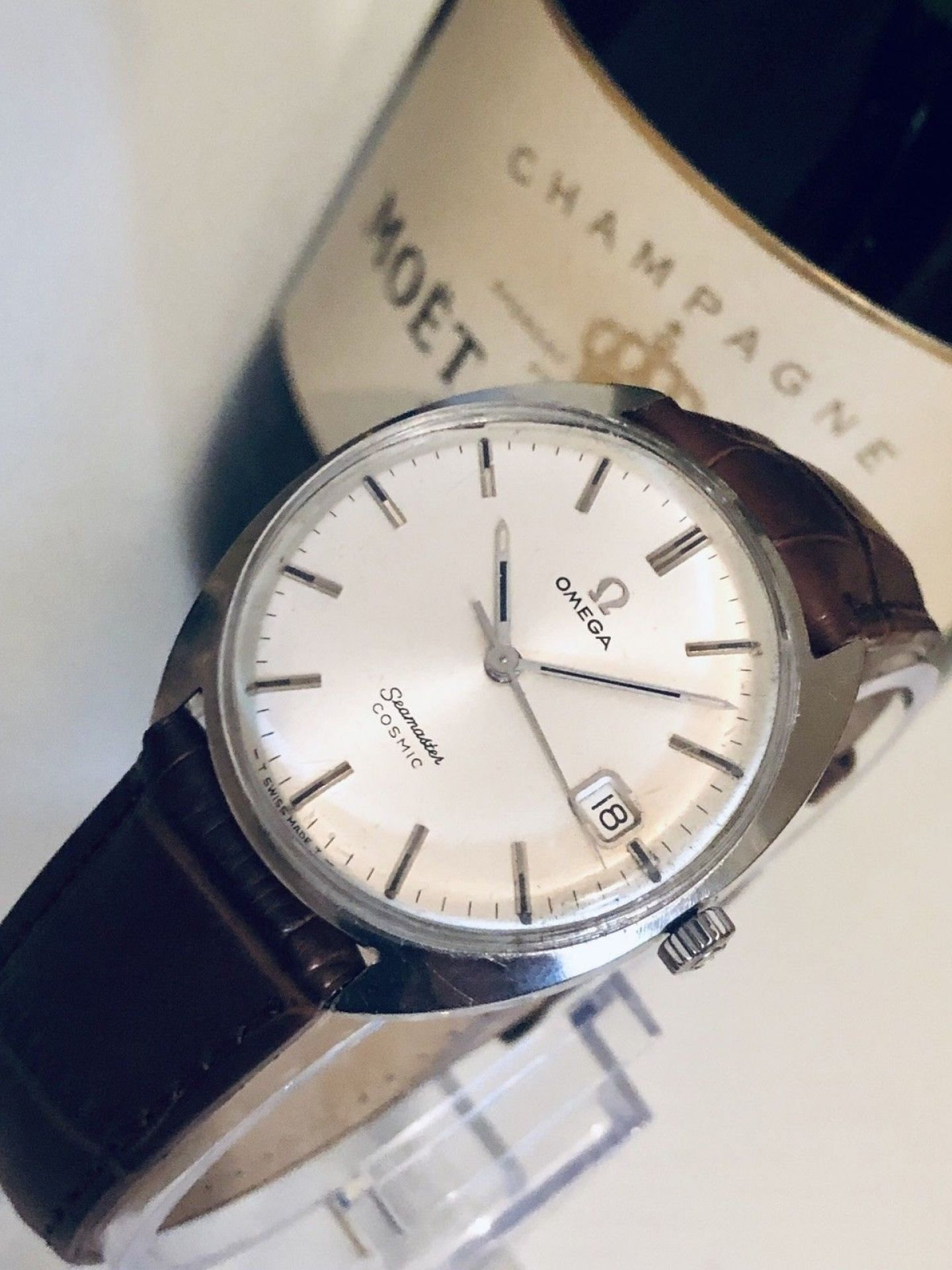 OMEGA MENS 1962 SEAMASTER COSMIC IVORY OFF WHITE DIAL FACE VINTAGE WATCH CAL