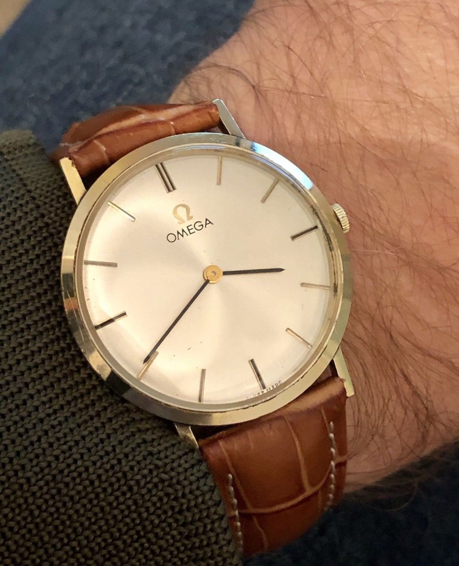 OMEGA VINTAGE US COLLECTION CAL 302 MENS SUB-DIAL 1961 MECHANICAL 14K SOLID GOLD