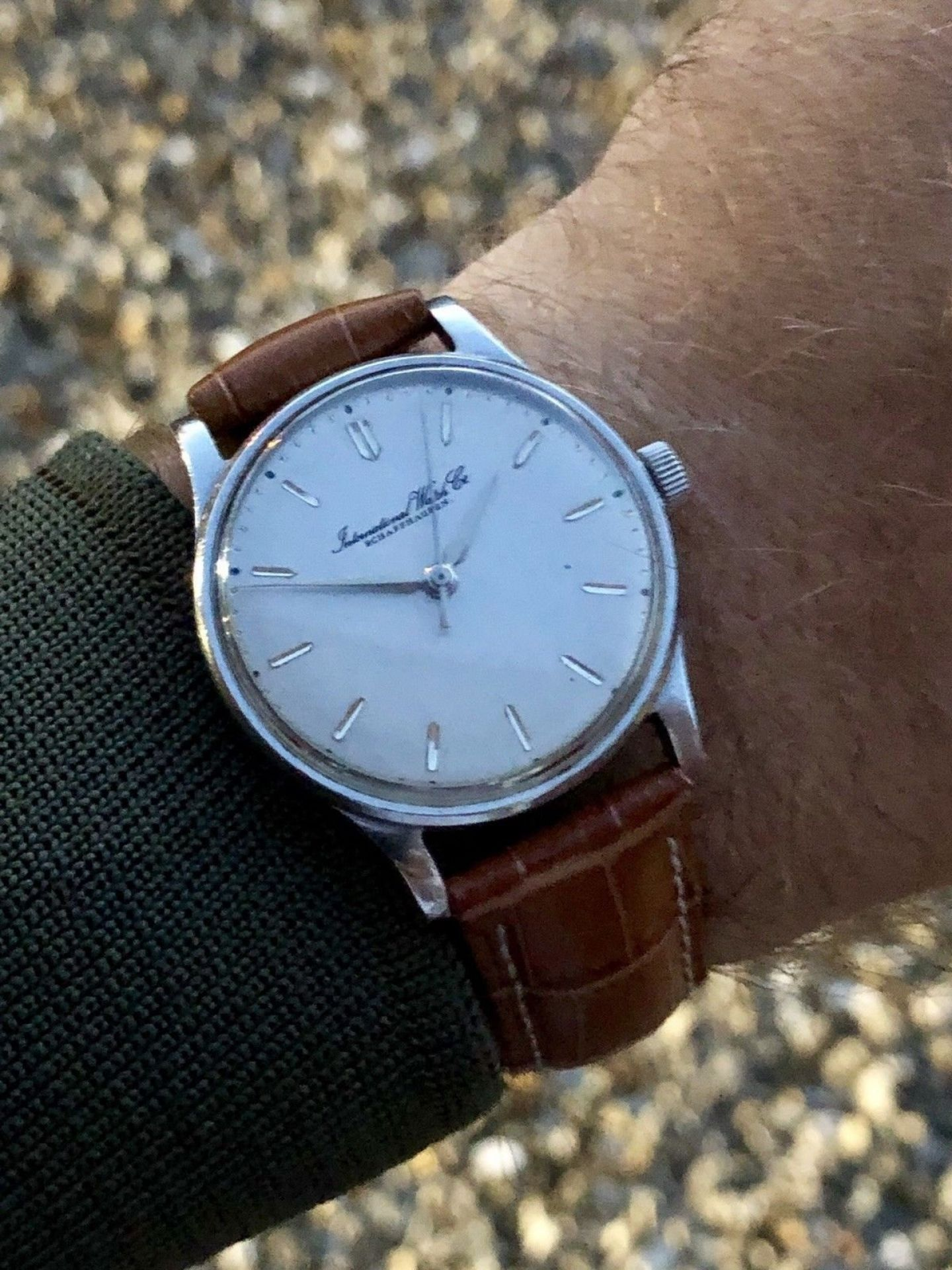 IWC 1968 MENS GREY DIAL FACE MECHANICAL SCHAFFHAUSEN WATCH CAL C 89 VINTAGE