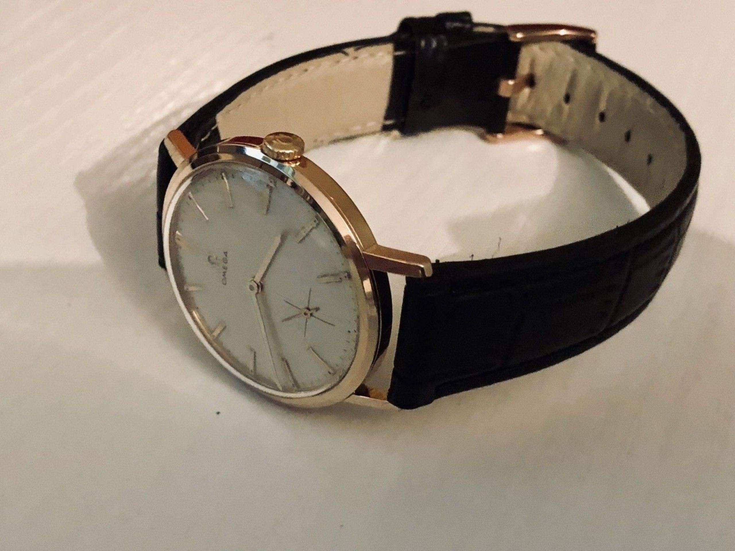 OMEGA VINTAGE MENS CROSSHAIR 1963 MECHANICAL ROSE PINK GOLD WATCH CAL 269 + BOX