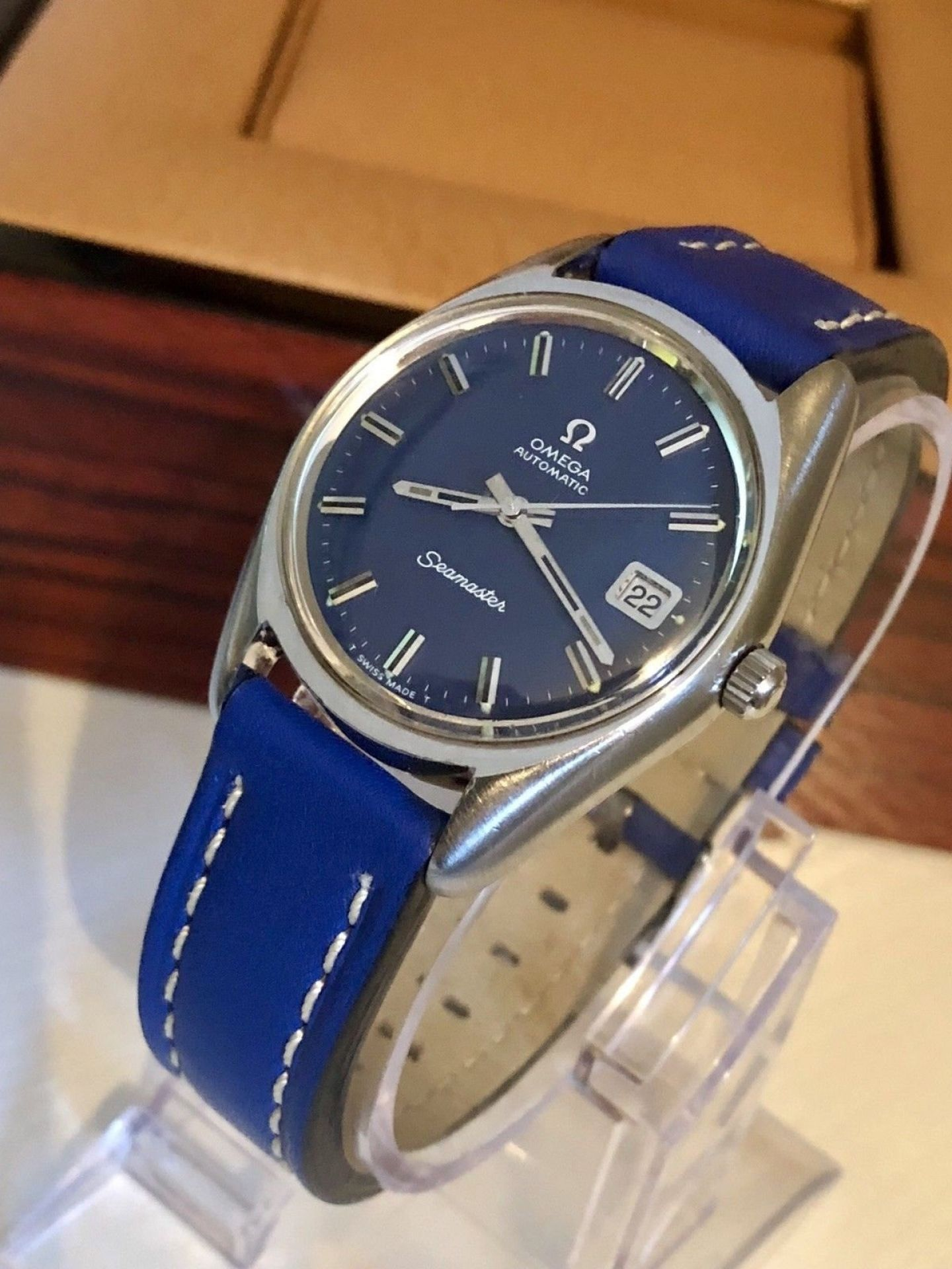 OMEGA SEAMASTER AUTOMATIC CAL 565 DATE BLUE DIAL FACE VINTAGE MENS 1971 WATCH