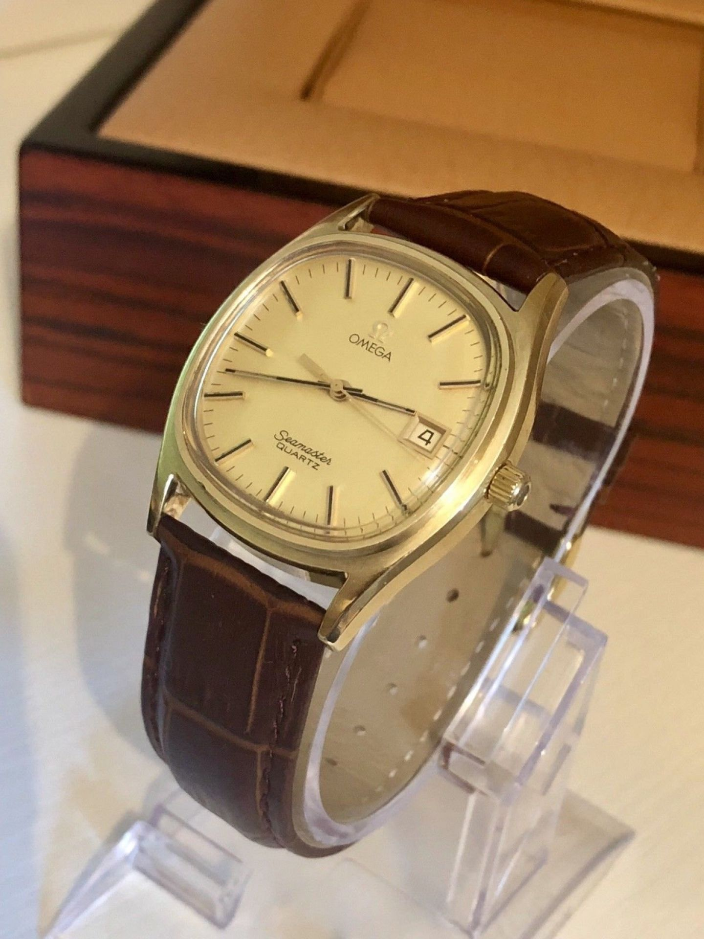 OMEGA CLASSIC MENS VINTAGE WATCH QUARTZ 1980 CAL 1342 DATE GOLD PLATED