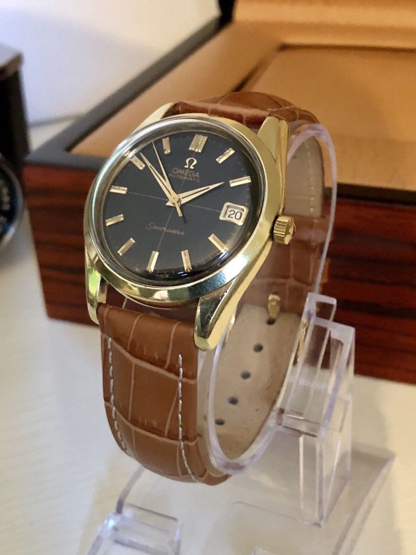 OMEGA MENS SEAMASTER CROSSHAIR VINTAGE WATCH 1960'S GOLD CAPPED AUTOMATIC