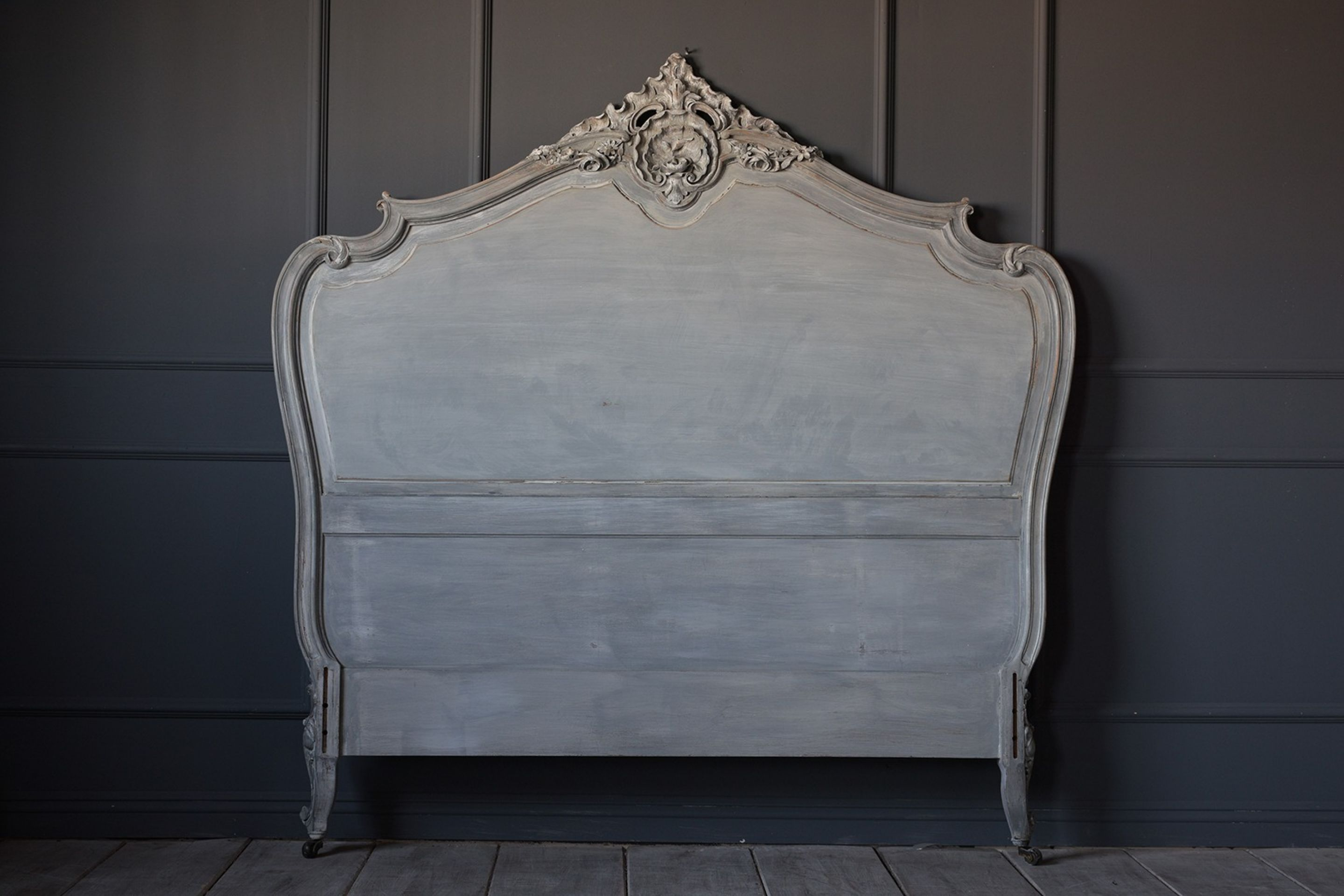 19th Century Distressed Finish Louis XV Style Bed Frame