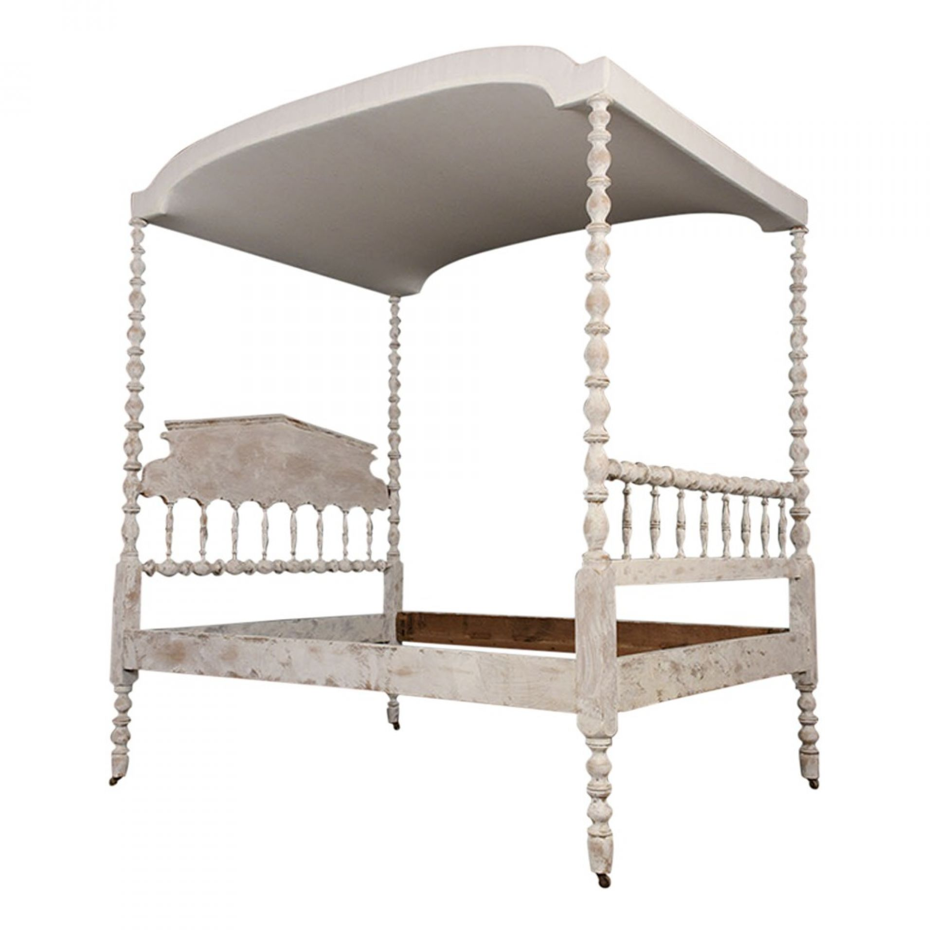 English Four-Poster Painted Tester Bed, Circa 1880