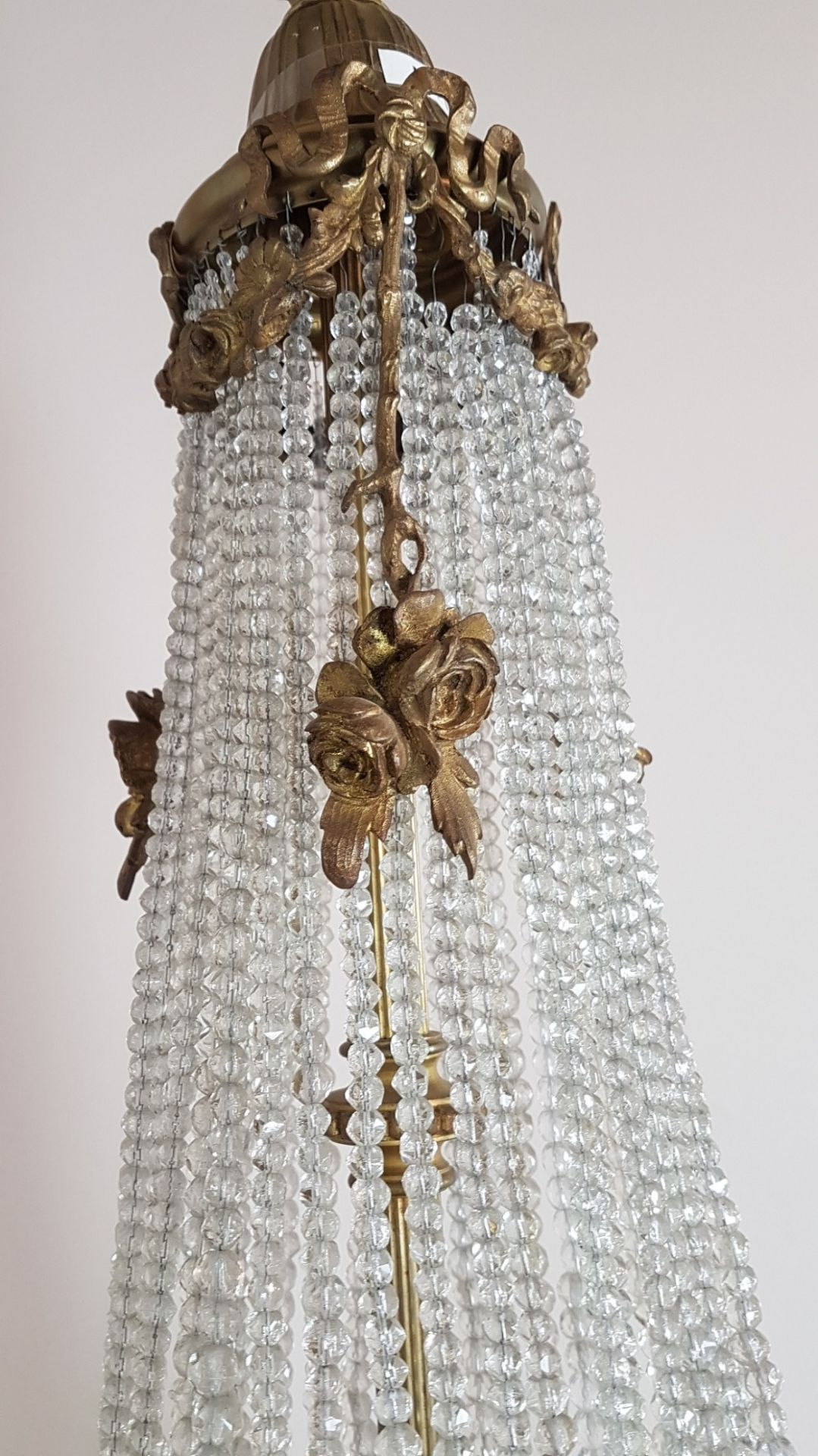 Antique French Empire Gilded Bronze and Crystals Luxury Chandelier
