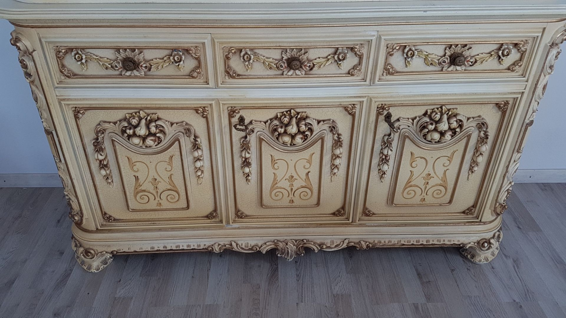 20th Century Italian Venetian Baroque Style and Painted Dining Room Set
